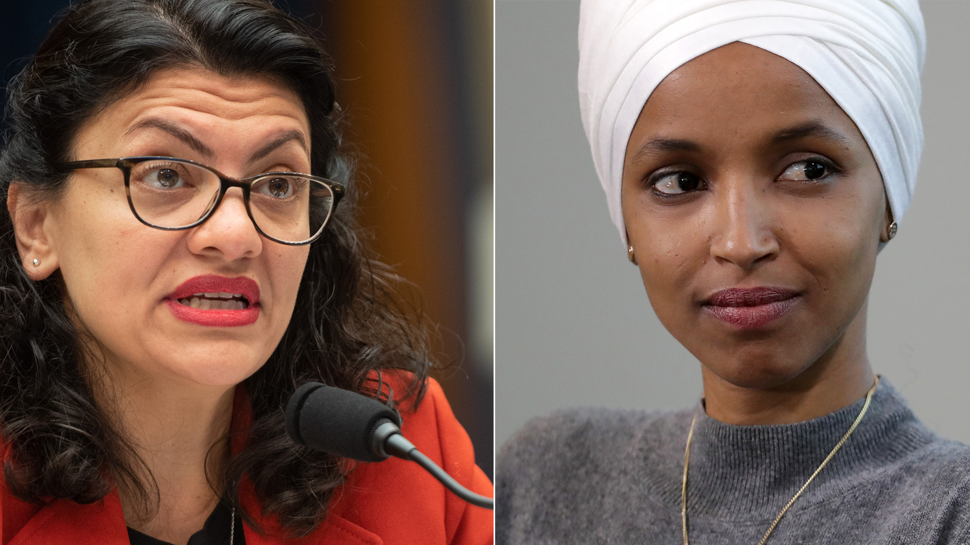 Rep. Rashida Tlaib is seen at Capitol Hill in Washington, D.C. on May 22, 2019, and Rep. Ilhan Omar is seen at the National Housing Center on July 23, 2019, in Washington, D.C. (Credit: Saul Loeb/AFP/Getty Images and Chip Somodevilla/Getty Images)