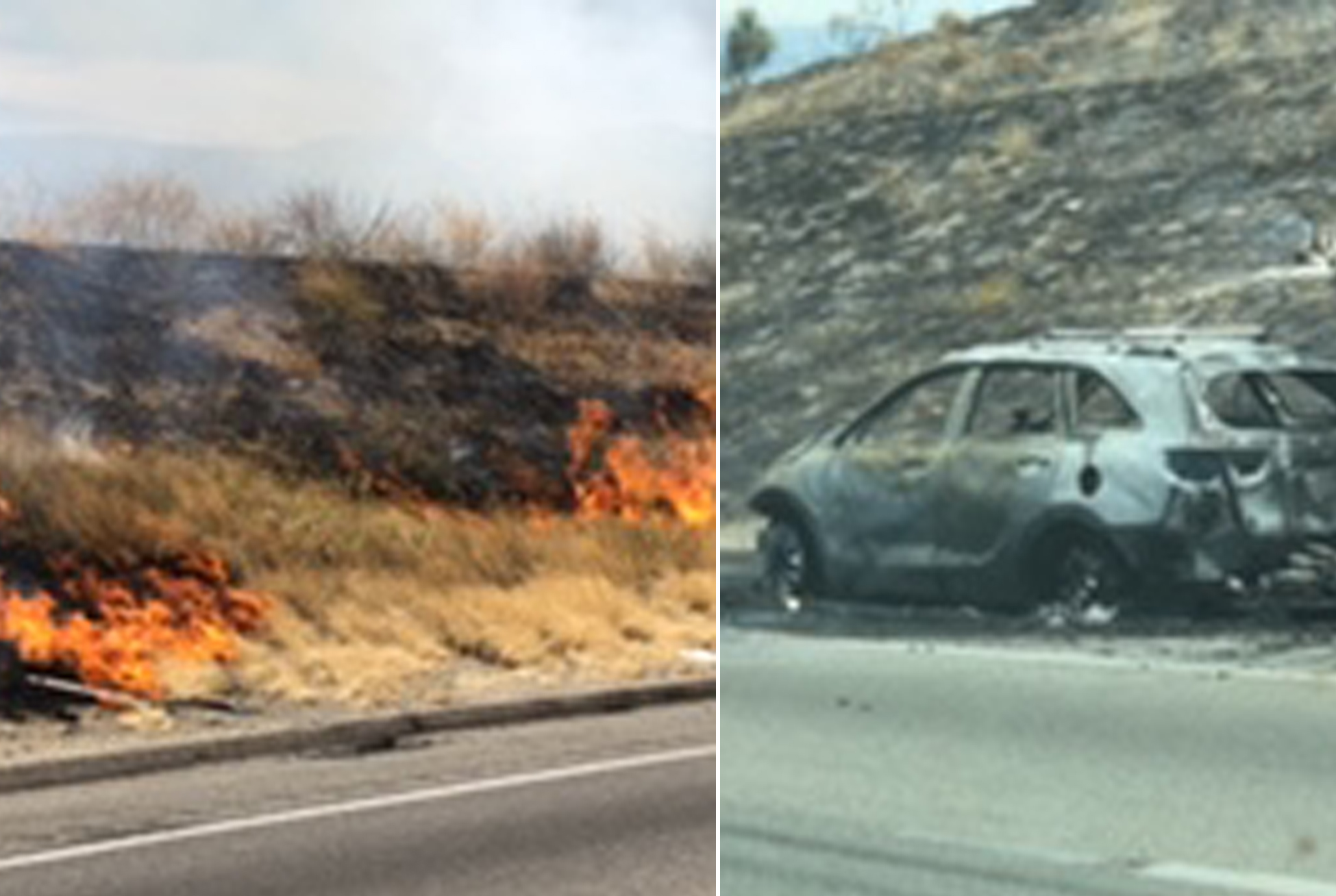 A brushfire burns near the 5 freeway north of Castaic on Aug. 3, 2019. (Credit: Andrew Kissinger)