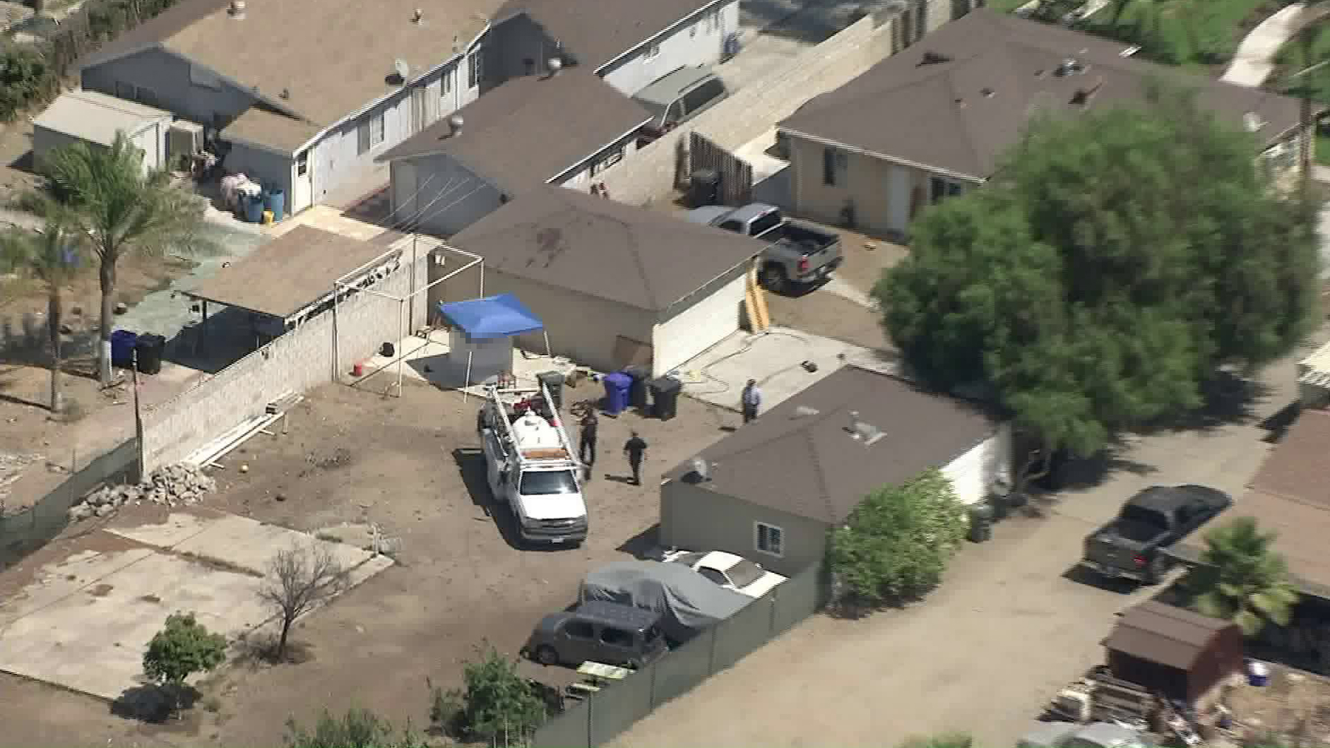 Police investigated the death of a person whose body was found in a bloody water tank in Fontana on Sept. 11, 2019. (Credit: KTLA)