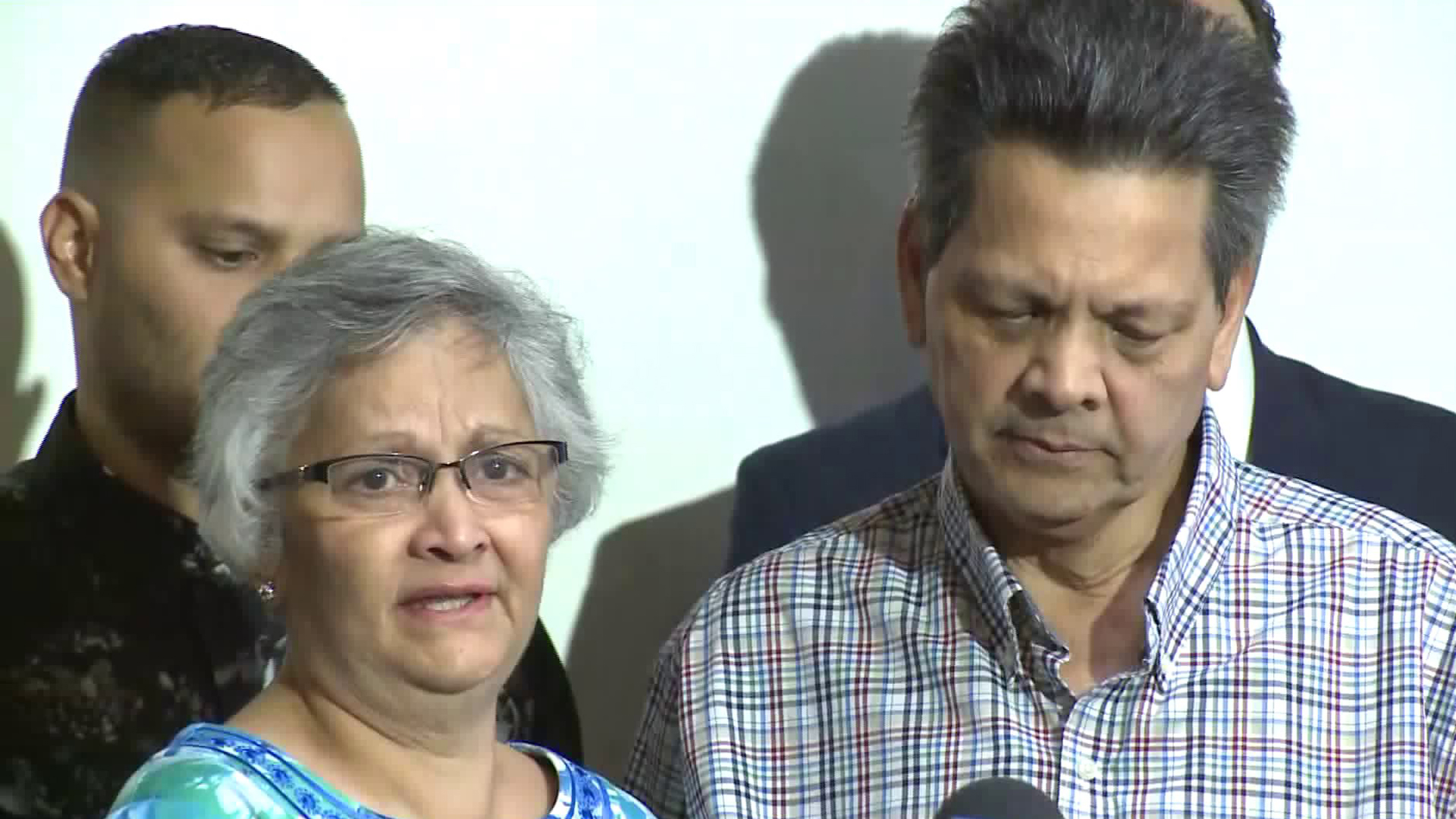 Russell and Paola French speak out during a news conference on Sept. 26, 2019. (Credit: KTLA)