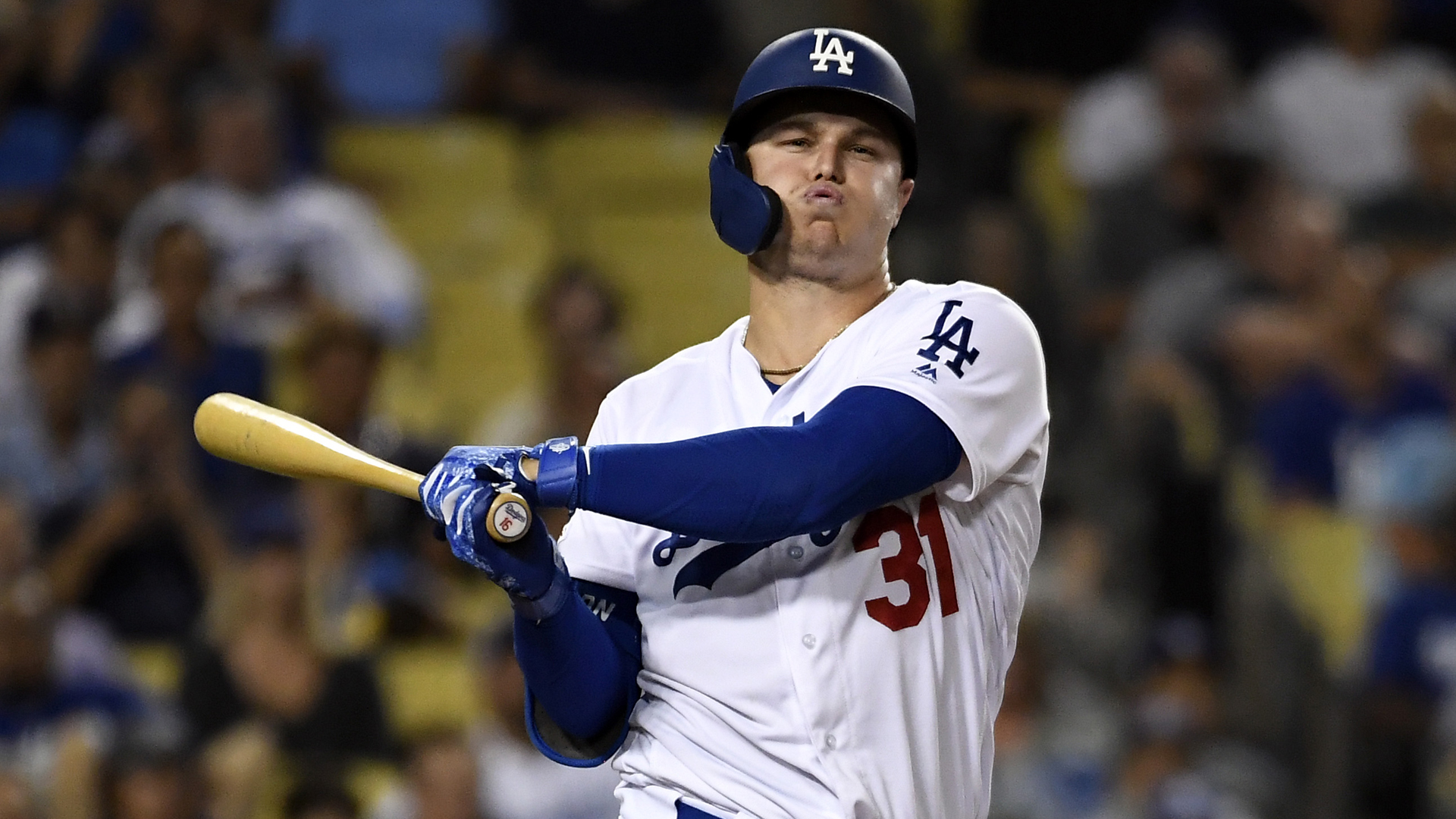 Joc Pederson of the Los Angeles Dodgers swings against Colorado Rockies during the sixth inning at Dodger Stadium on September 4, 2019 in Los Angeles. (Credit: Kevork Djansezian/Getty Images)