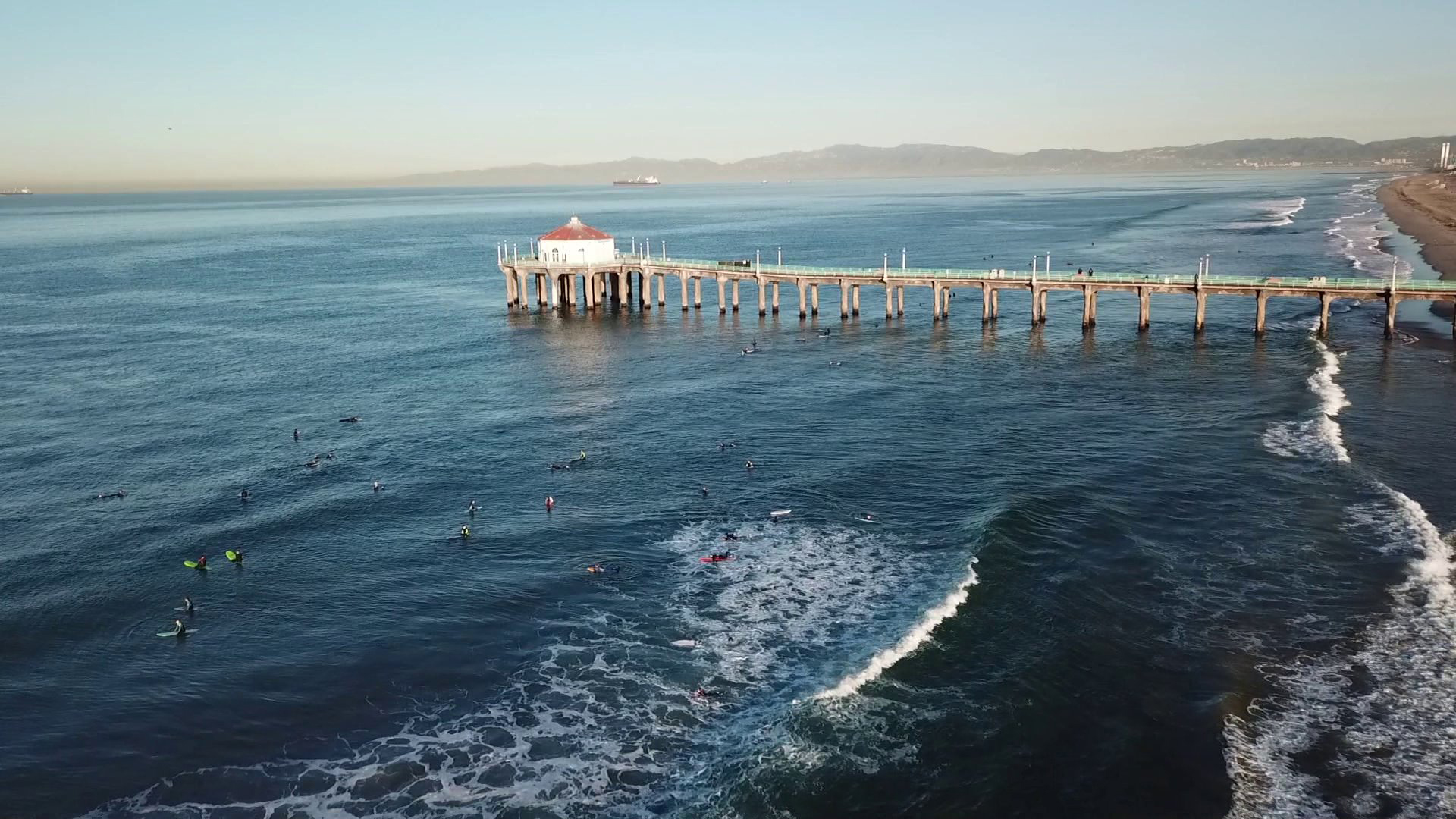 The Manhattan Beach Pier is seen in this Drone5 image from Feb. 8, 2018. (KTLA)