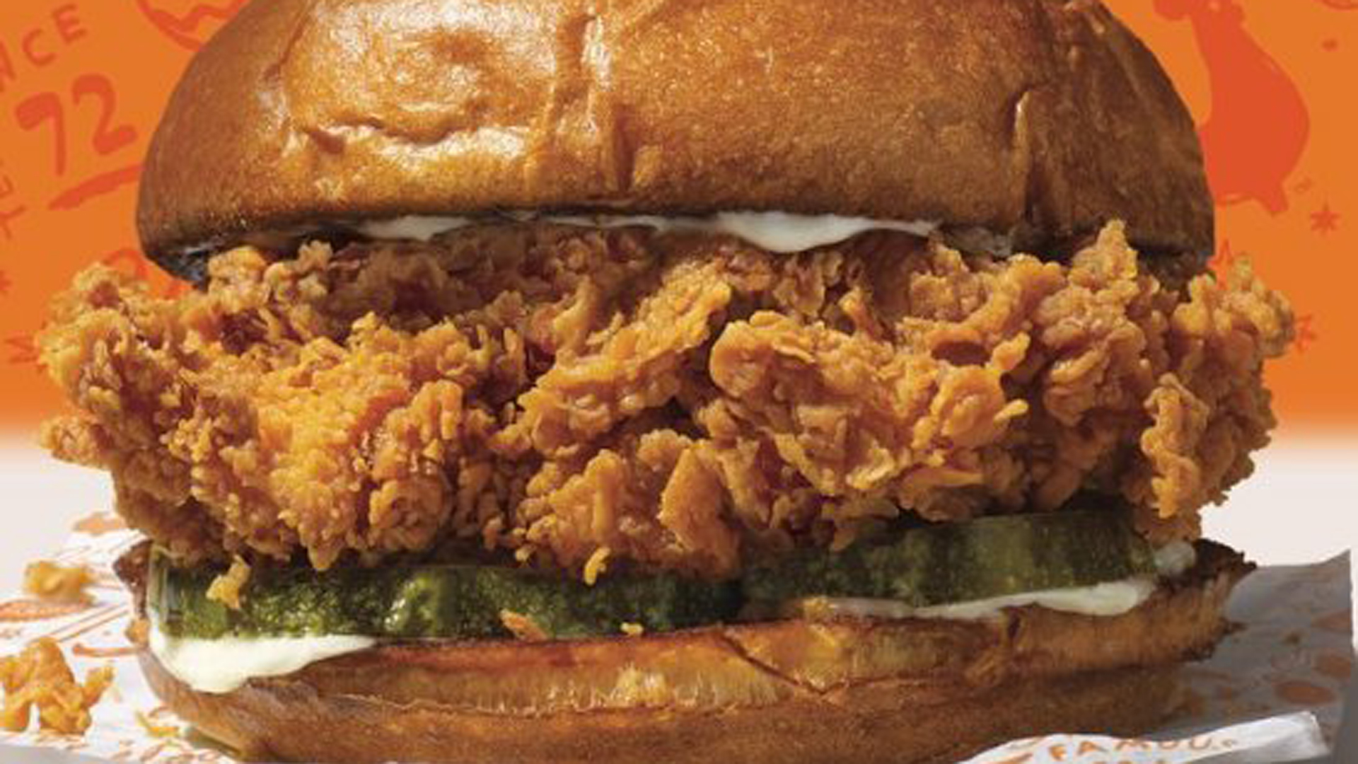 The new Popeyes chicken sandwich is seen in a photo distributed by the restaurant chain.