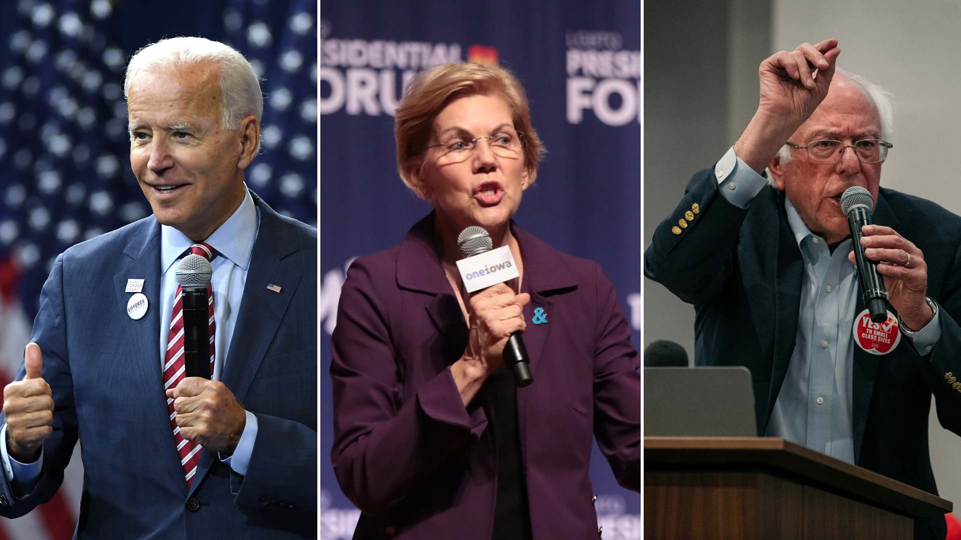 Joe Biden, Elizabeth Warren and Bernie Sanders are seen on the presidential campaign trail in 2019. (Credit: Getty Images)