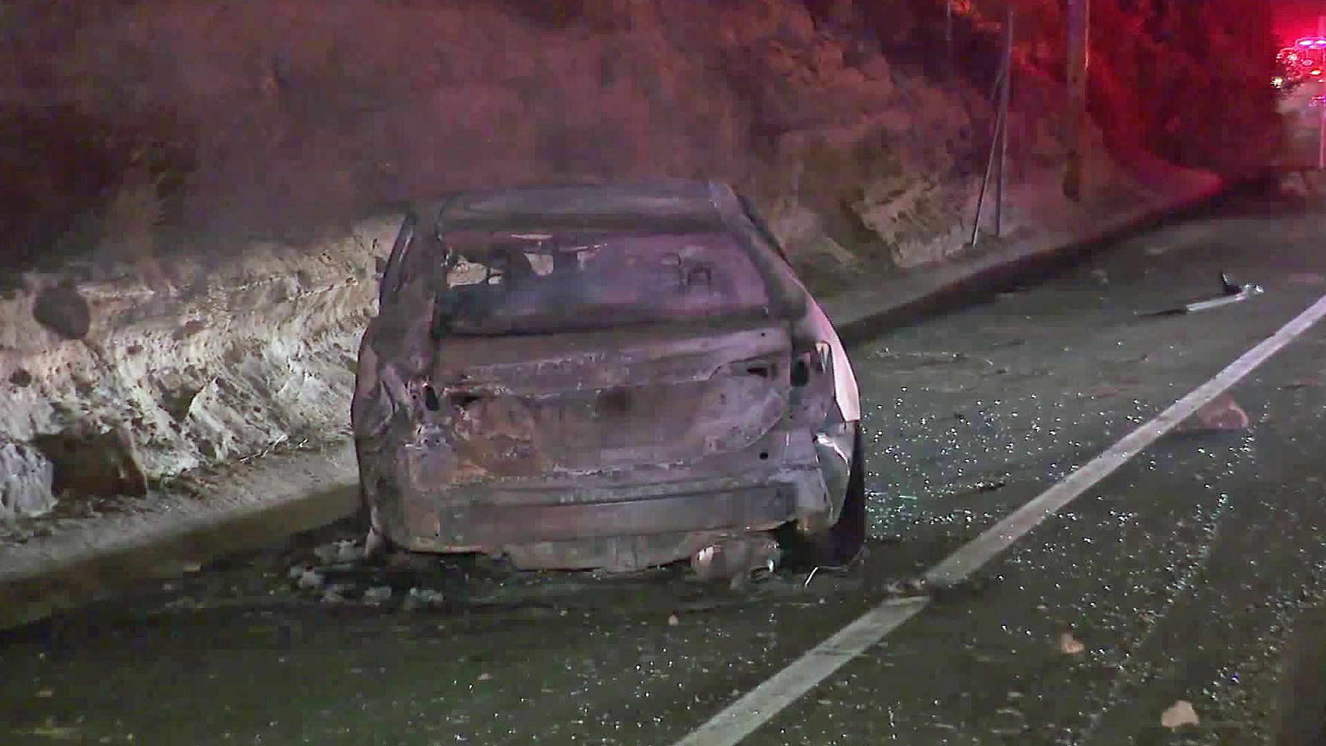 A brush fire in the Santiago Canyon area was started by a suspected DUI driver, officials said on Oct. 24, 2019. (Credit: KTLA)