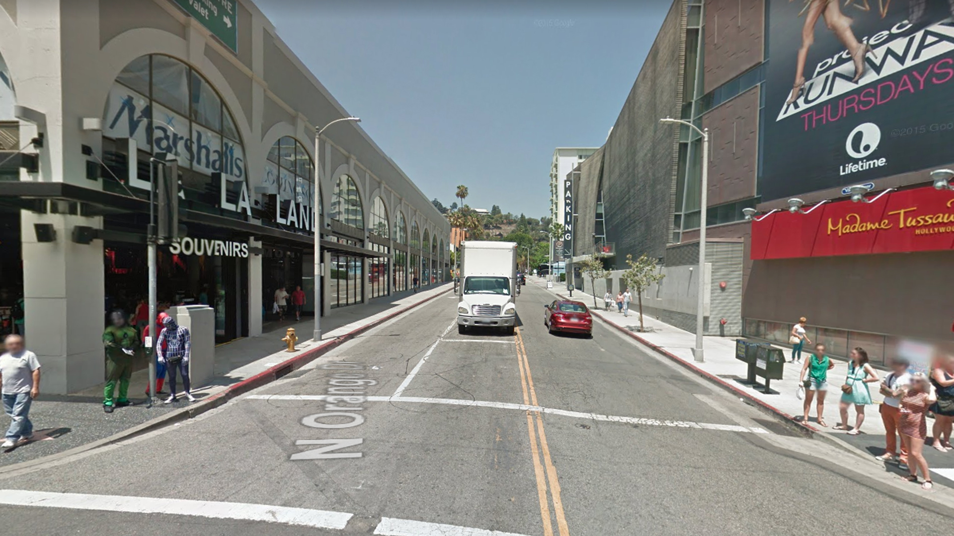 Orange Drive, looking north from Hollywood Boulevard, in Hollywood, as viewed in a Google Street View image.