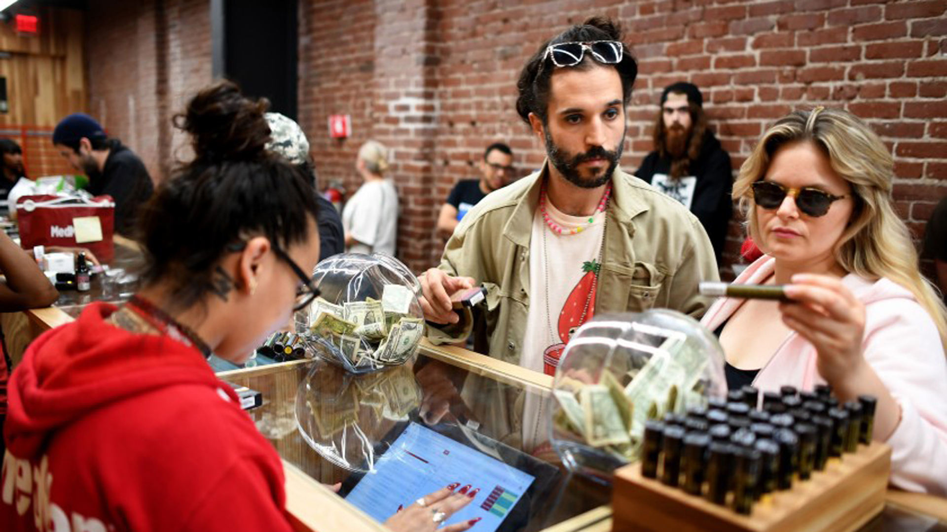 Customers peruse cannabis products at a dispensary in Los Angeles last year.(Credit: Gary Coronado / Los Angeles Times)