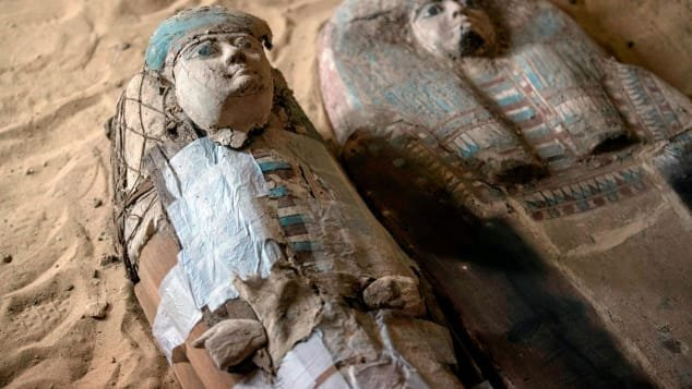 Sarcophagi found inside a recently discovered burial shaft at the Giza pyramid plateau in Cairo is seen in this undated photo. (Credit: Mahmoud Khaled/AFP/Getty Images)
