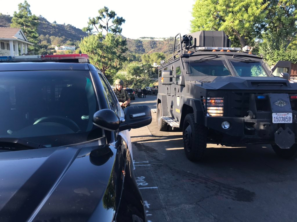 An armored vehicle is seen in Studio City on Oct. 24, 2019. (Credit: Los Angeles County Sheriff's Department)