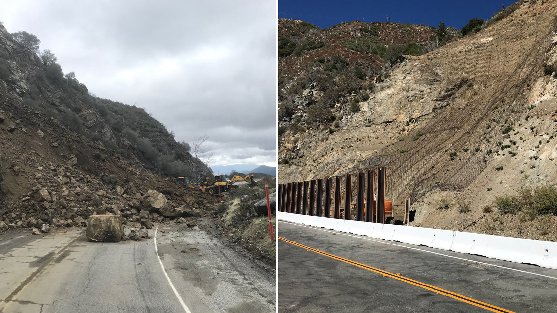 A section of the Angeles Crest Highway is seen during repairs of a Feb. 15, 2018, rock slide and after reopening on Oct. 22, 2019. (Credit: Caltrans)
