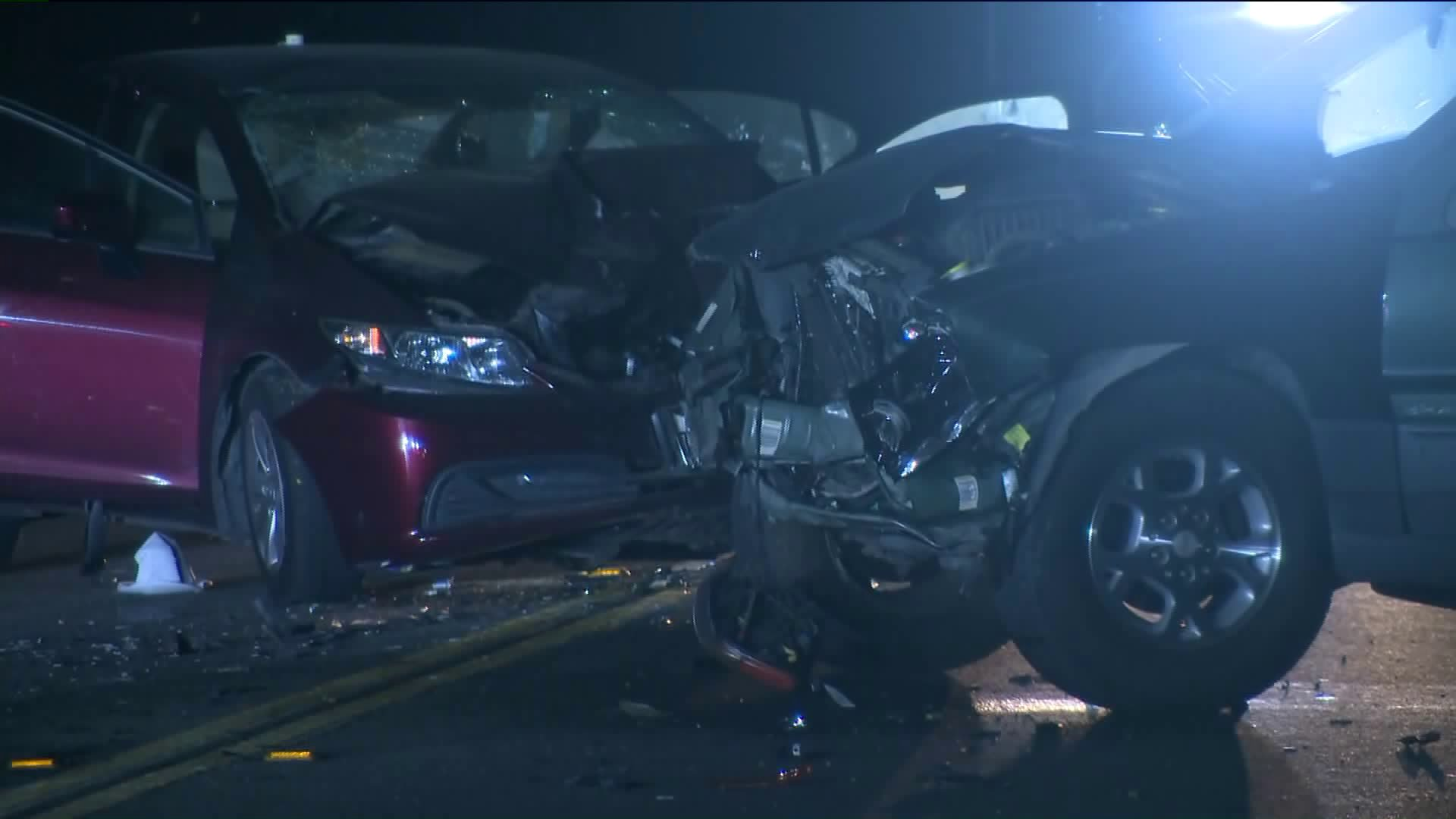 Five people, including two children, were hurt when an alleged DUI driver crashed head-on into another vehicle in Palmdale on Nov. 3, 2019. (Credit: KTLA)