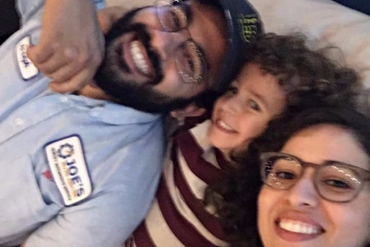 From left to right: Joseph Awaida, 30, appears in a photo with his 3-year-old son Omar and wife Raihan Dakhil. (Credit: GoFundMe)