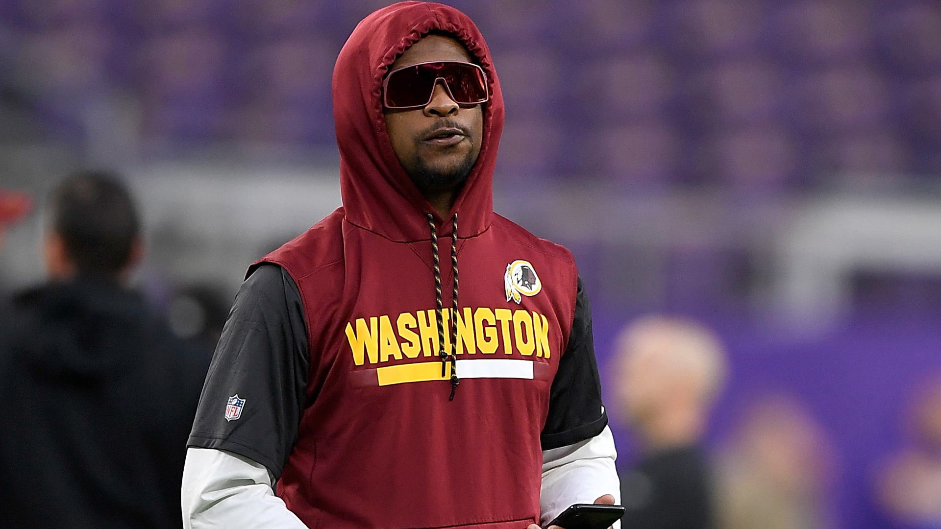 Montae Nicholson of the Washington Redskins walks on the field before the game against the Minnesota Vikings at U.S. Bank Stadium on October 24, 2019 in Minneapolis, Minnesota. (Credit: Hannah Foslien/Getty Images)