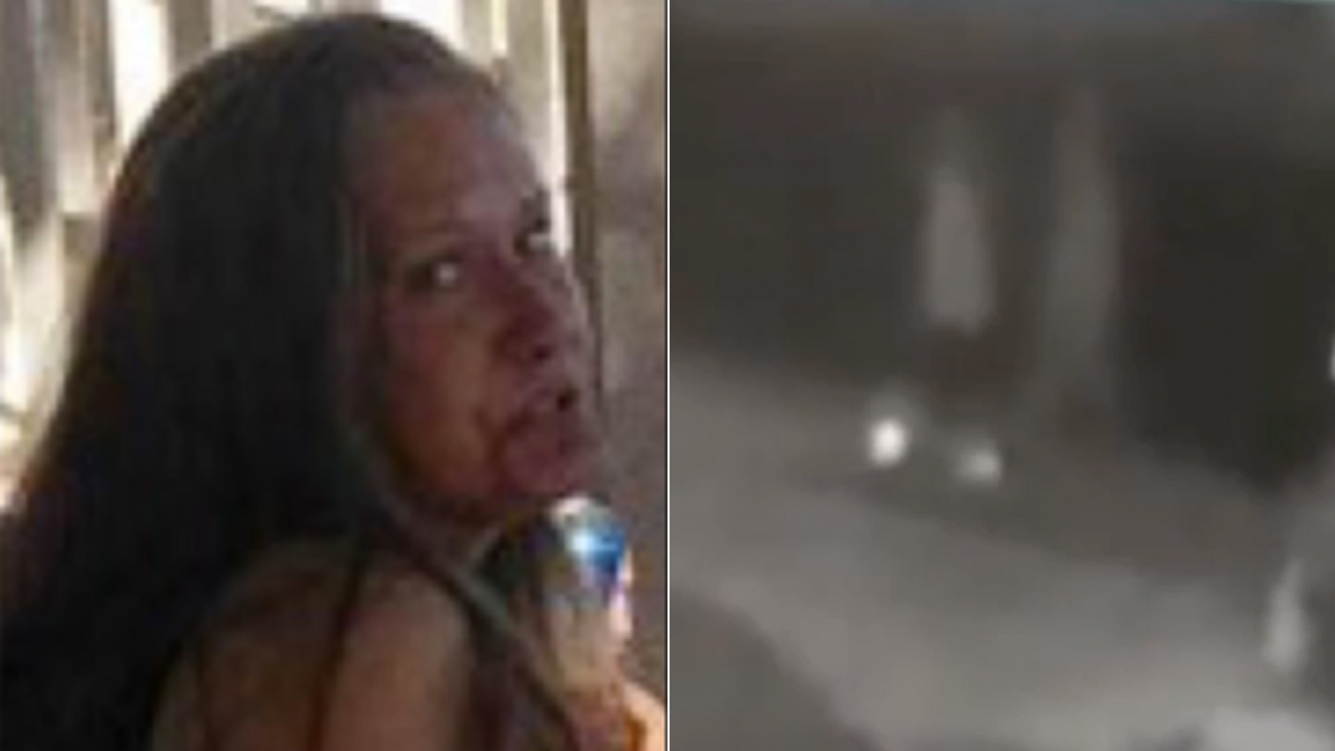 Susan Wagner, left, appears in a photo released by Riverside police on Nov. 27, 2019. On the right, a still from a video shows two people police are seeking in connection with Wagner's death.