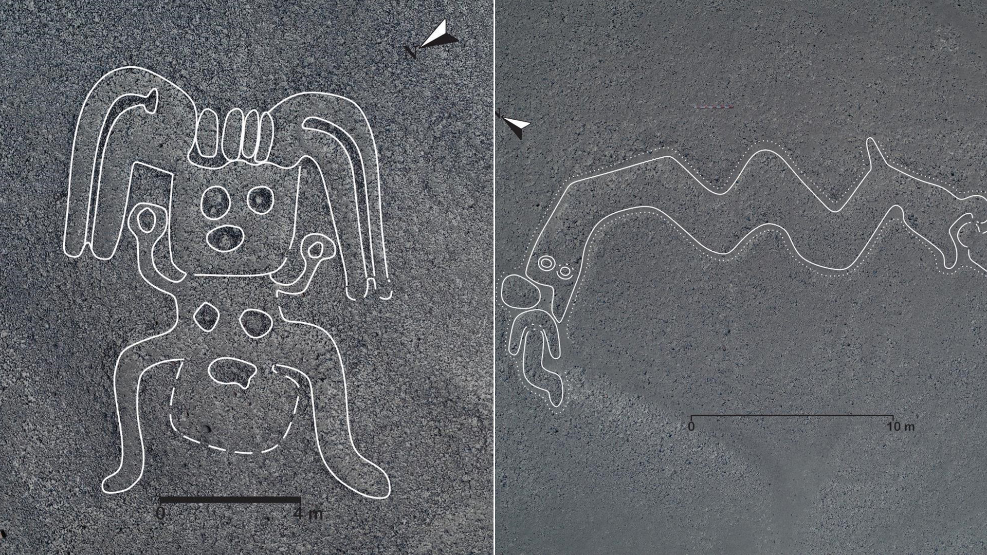 Yamagata University released these images on Nov. 15, 2019 of geoglyphs found by researchers in Peru.