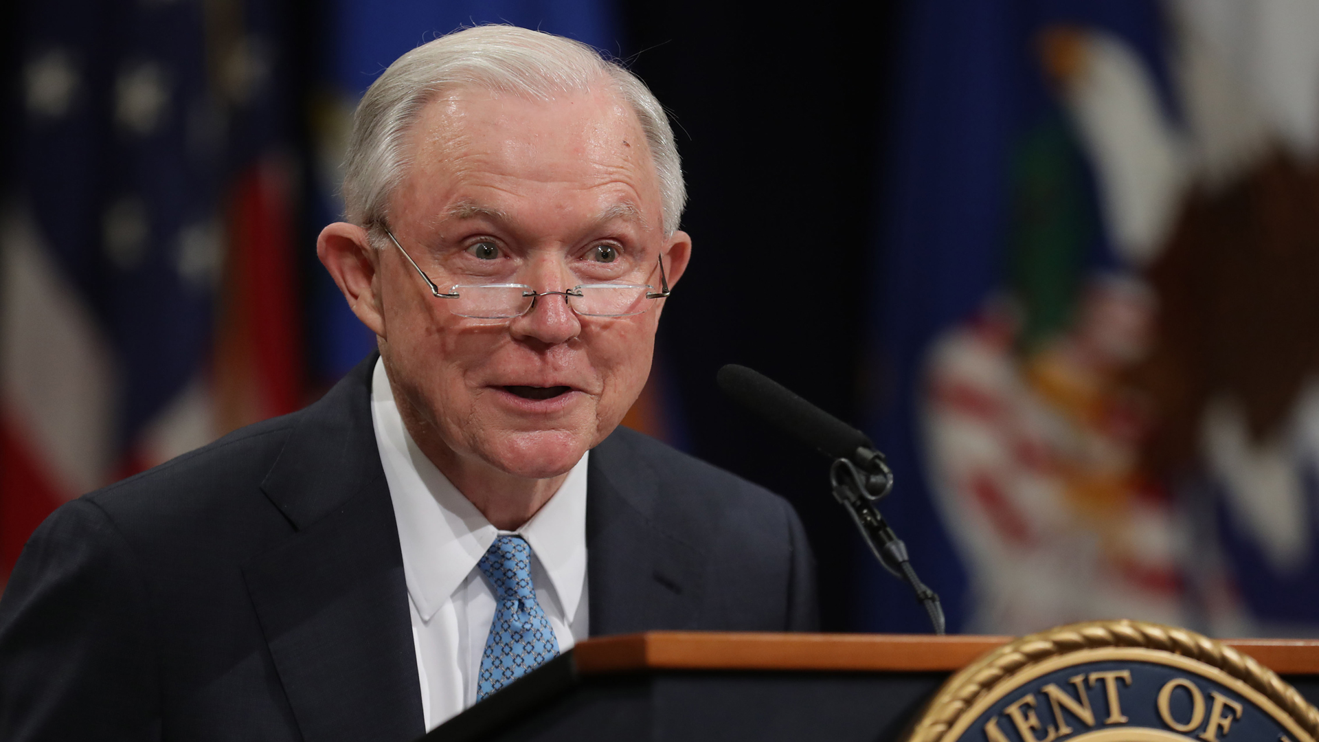 Former U.S. Attorney General Jeff Sessions delivers remarks during a farewell ceremony for Deputy Attorney General Rod Rosenstein at the Robert F. Kennedy Main Justice Building May 09, 2019, in Washington, DC. (Chip Somodevilla/Getty Images)