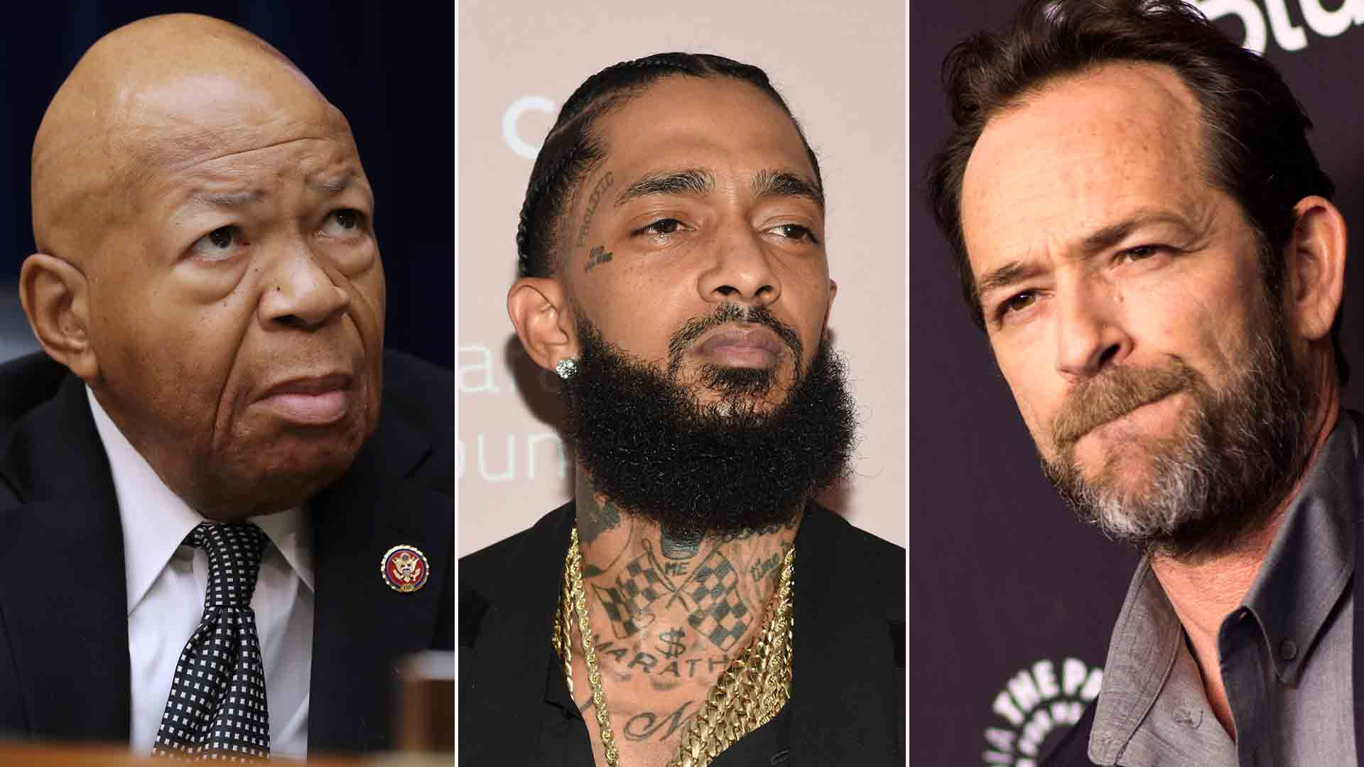 Elijah Cummings (L), Nipsey Hussle (C) and Luke Perry are seen in these pictures from Getty Images.