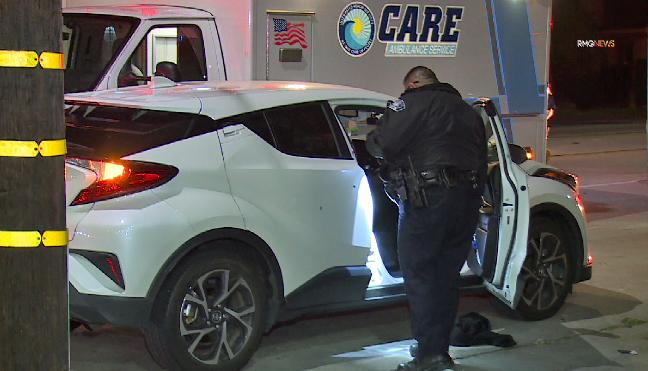 Officers investigate a road rage shooting in El Monte on Dec. 18, 2019. (Credit: RMG News)