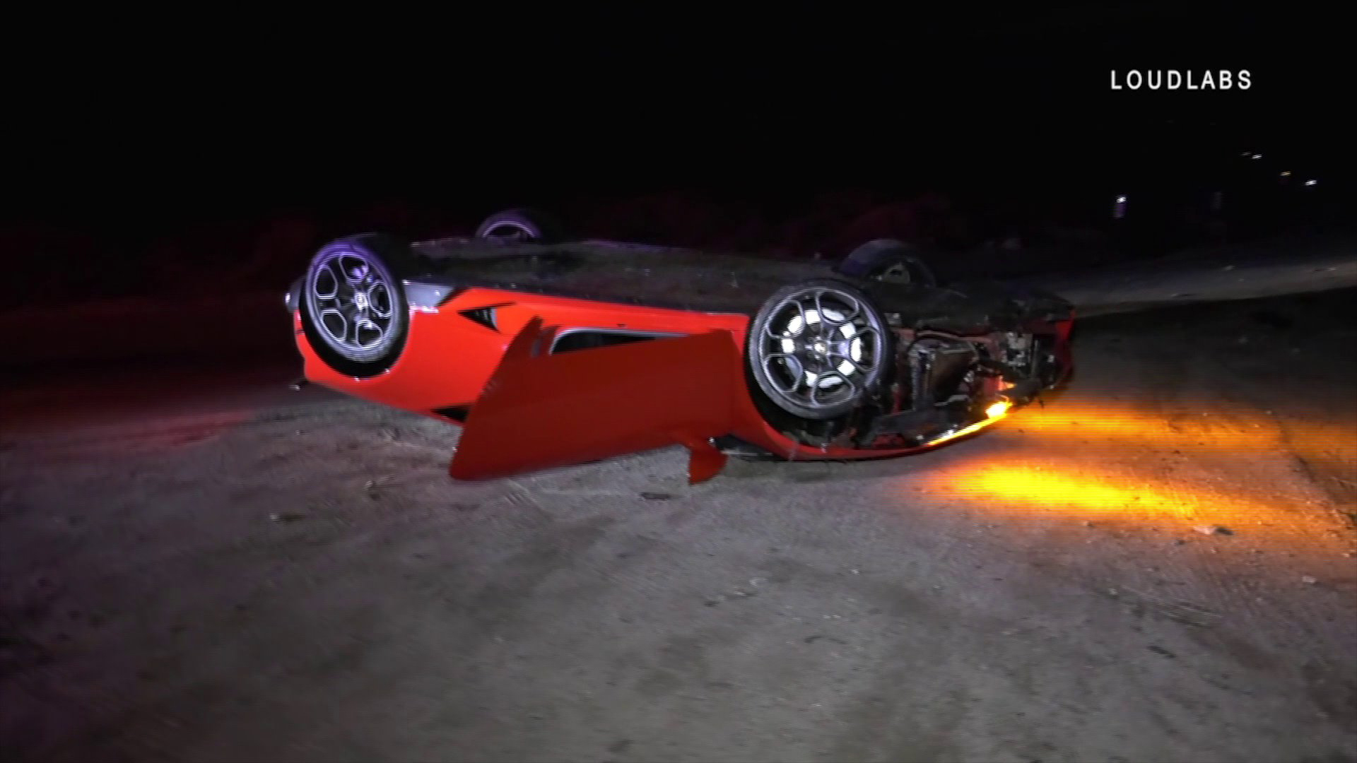 An abandoned Lamborghini was found after it landed upside down on Angeles Crest Highway on Dec. 11, 2019. (Credit: Loudlabs)