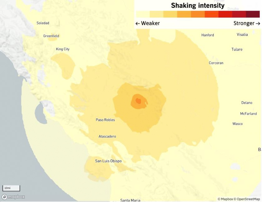 California's new MyShake cellphone app sent out its first public alert about a magnitude 4.3 earthquake that jolted the mountains between the Central Coast and the San Joaquin Valley.(Credit: Casey Miller / Los Angeles Times )