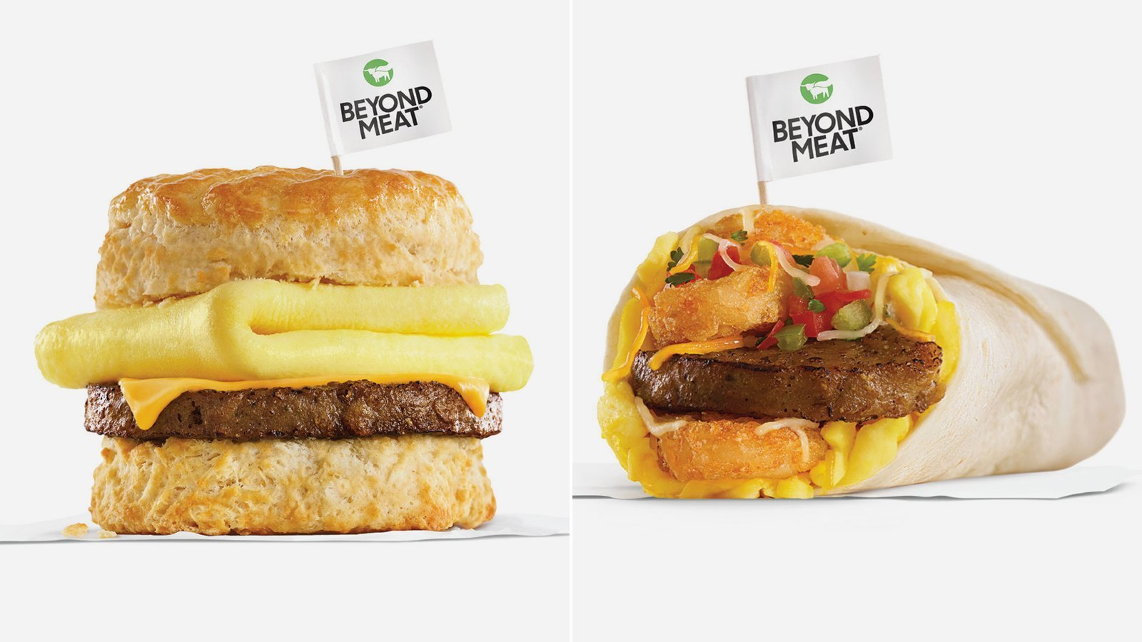 Carl's Jr. is serving a Beyond Sausage burrito, made with Beyond's meatless sausage, egg, cheese and other ingredients, as well as a Beyond Sausage egg and cheese biscuit. (Credit: Carl's Jr.)