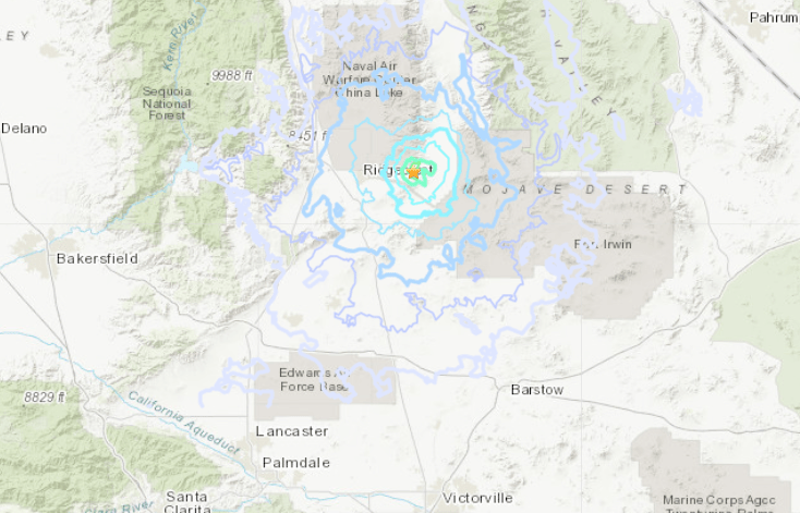 A U.S. Geological Survey map shows where a magnitude 3.9 earthquake hit near Ridgecrest at 12:24 a.m. on Dec. 21, 2019.