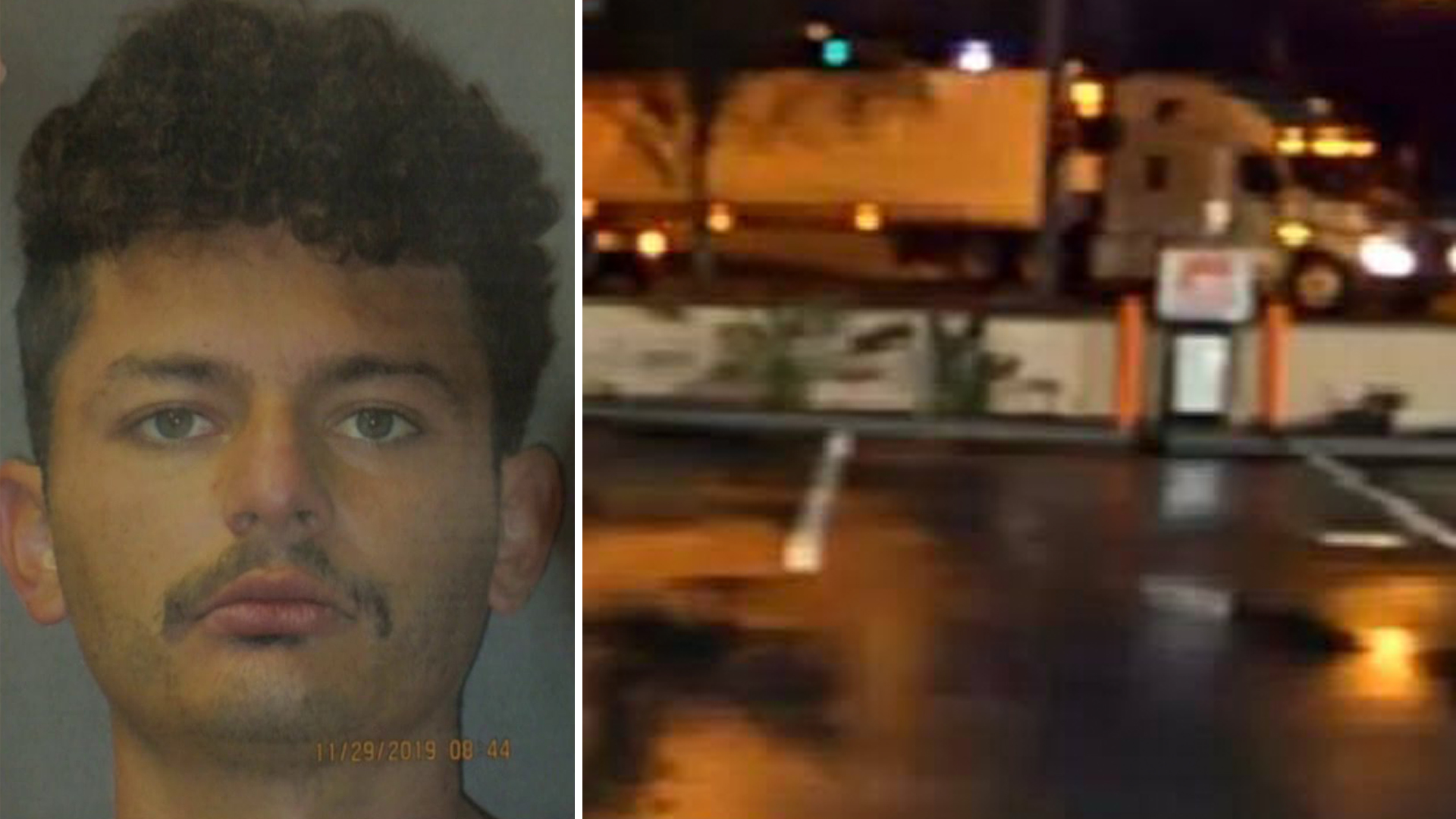 Ricardo Preciado-Saldivar, 26, is seen in an undated photo provided by the La Habra Police Department on Dec. 2, 2019. On the right, a big rig whose driver is believed to have witnessed the crash is seen in a photo released by police.