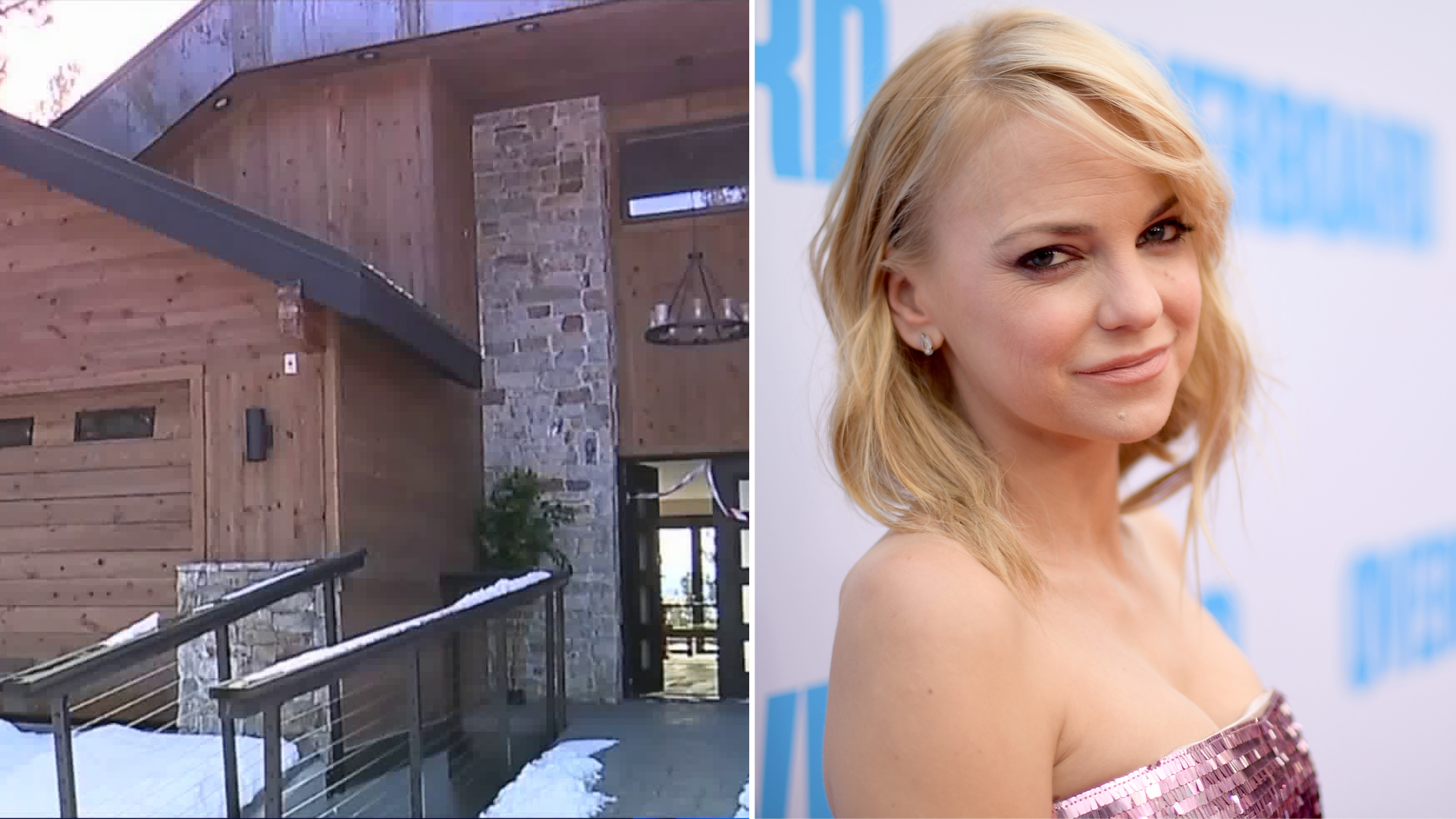 Anna Faris attends a film premiere on April 30, 2018, in Westwood, California. (Credit: Matt Winkelmeyer/Getty Images) And the Lake Tahoe cabin she stayed at. (Credit: KTXL)