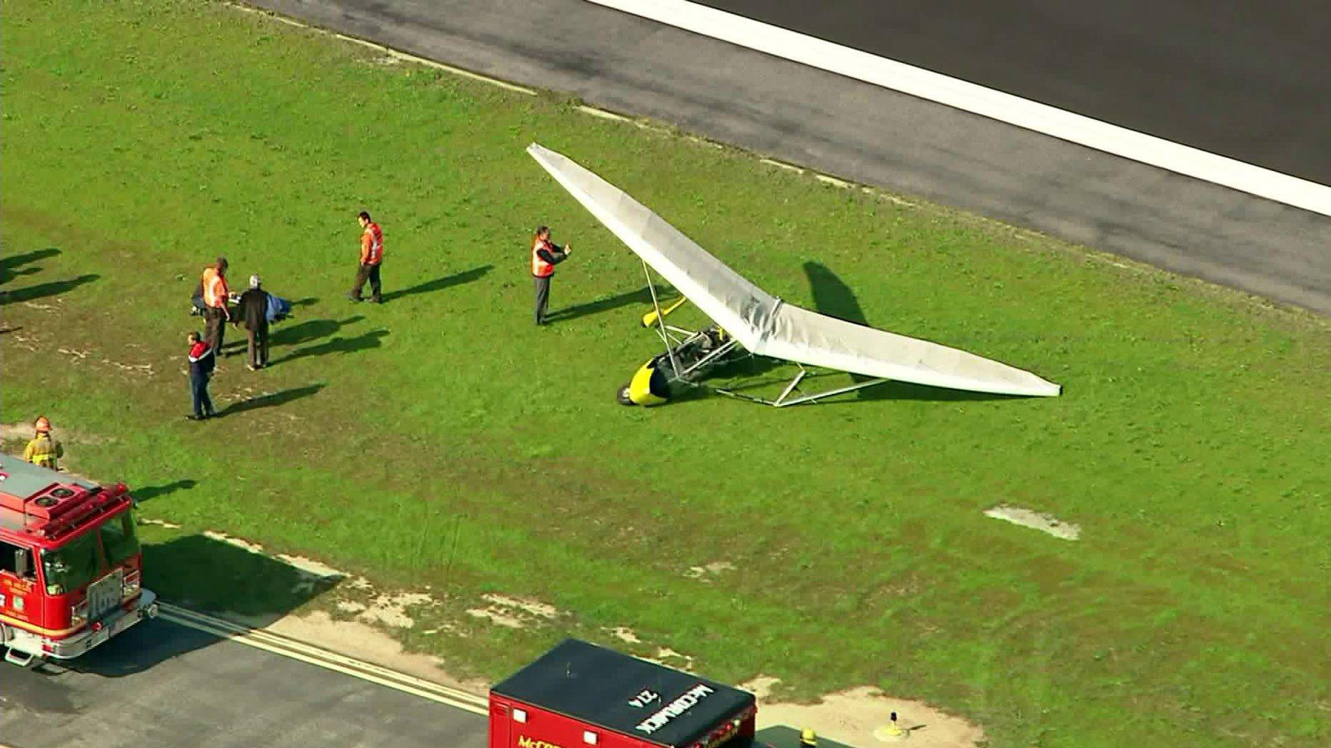 An ultralight plane is seen after crashing at Hawthorne Municipal Airport on Jan. 13, 2020. (Credit: KTLA)