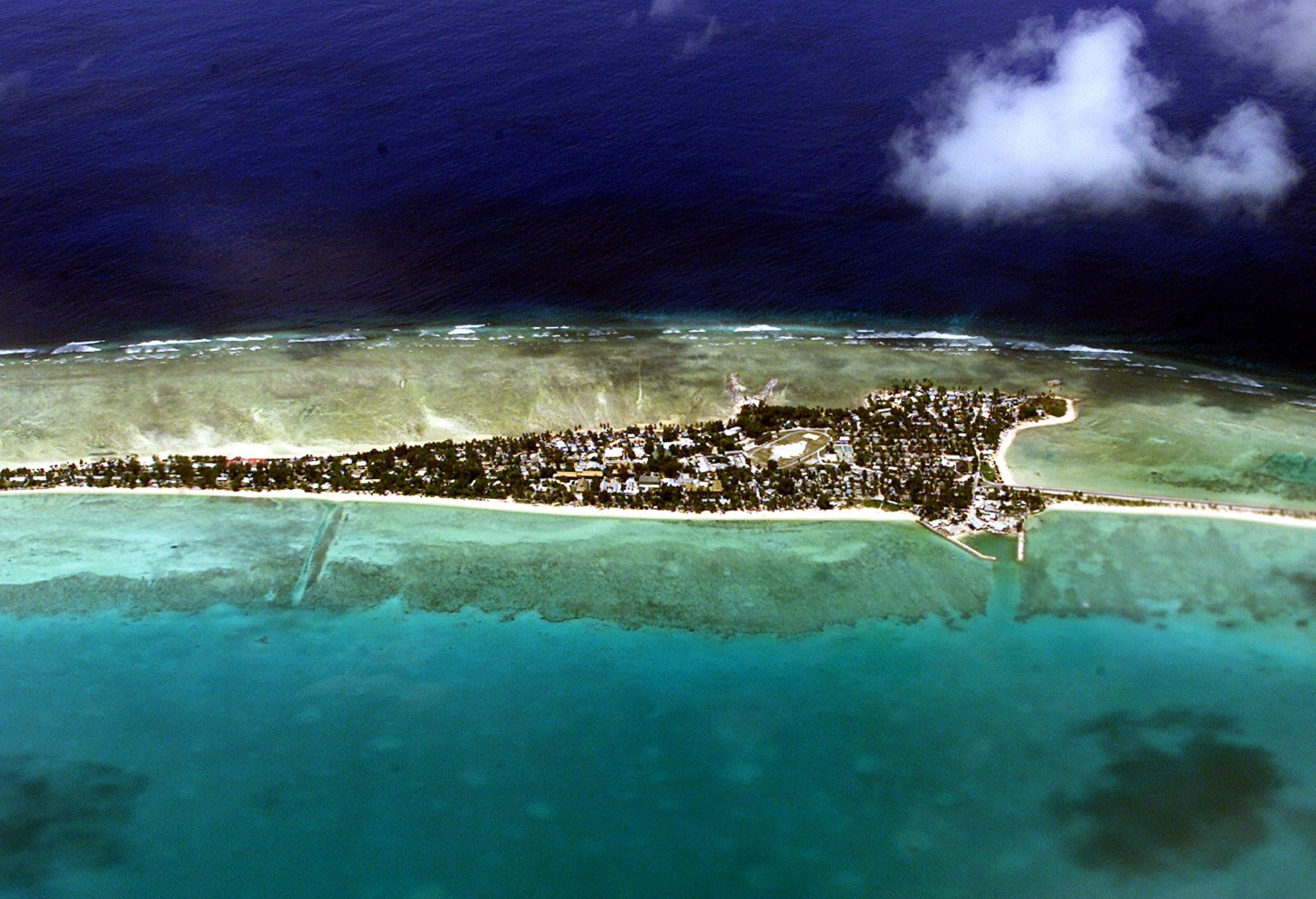 The Tarawa atoll, capital of the vast archipelago nation of Kiribati, appears in this file photo taken in September 2001. (Credit: TORSTEN BLACKWOOD/AFP via Getty Images)