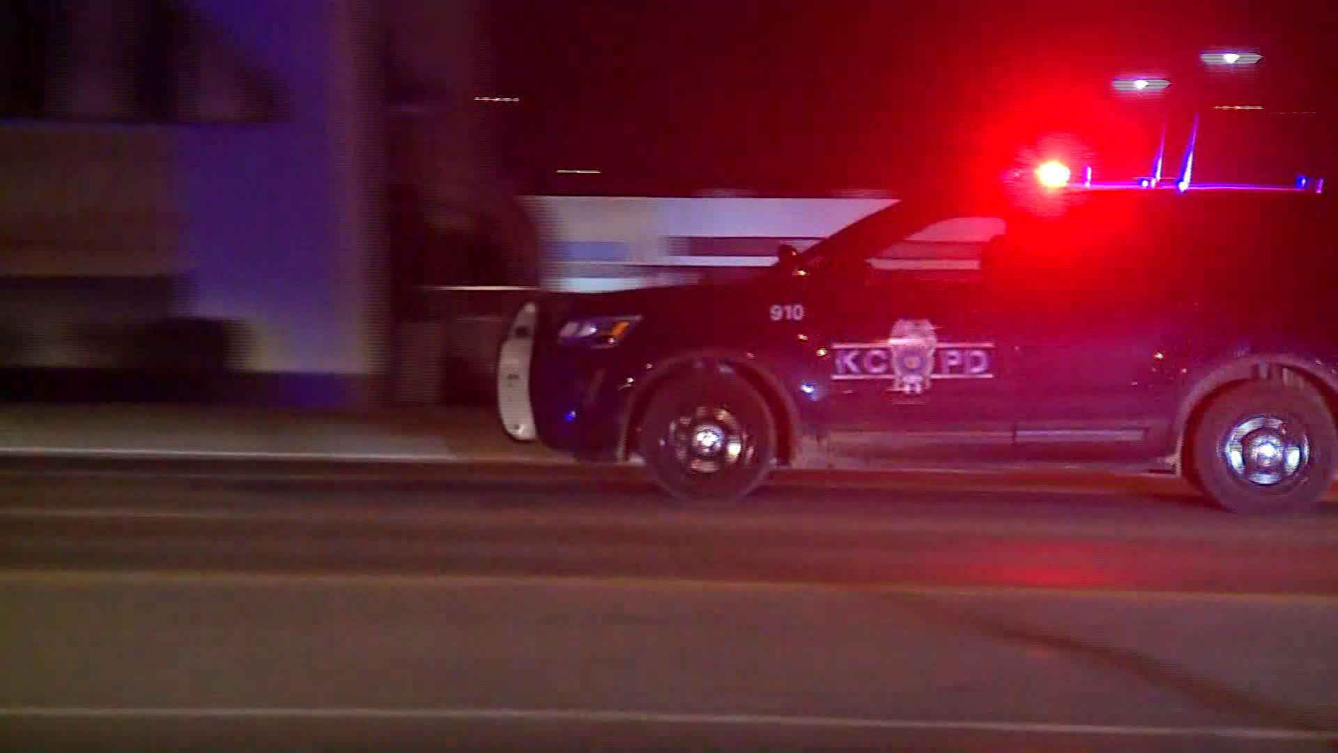 A gunman opened fire on people waiting in line to get into a Kansas City bar and was stopped by an armed security guard, police said. (Credit: KMBC)
