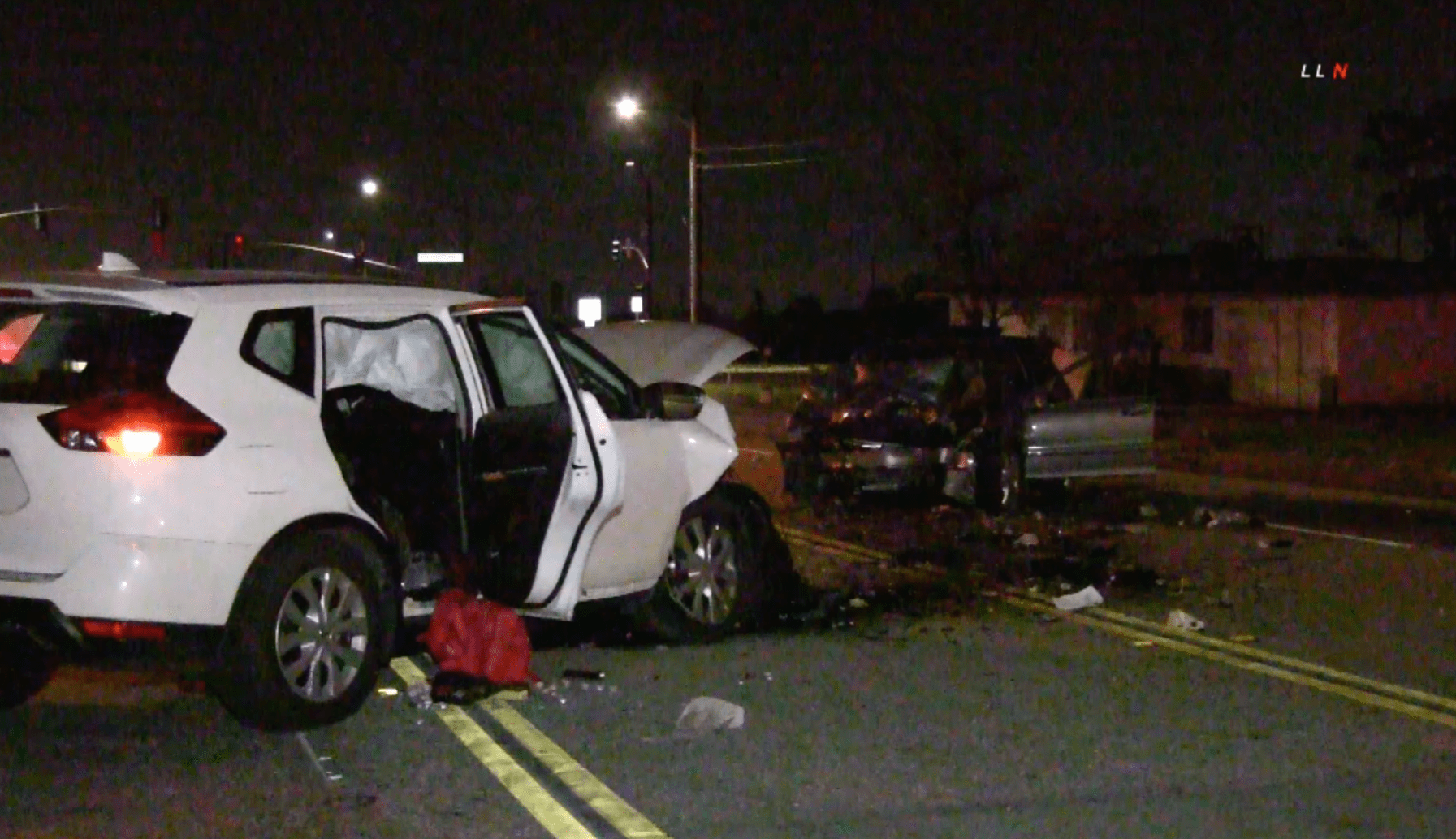 Two heavily damaged vehicles are seen in Fontana following a deadly head-on collision on Jan. 10, 2020. (Credit: Loudlabs)