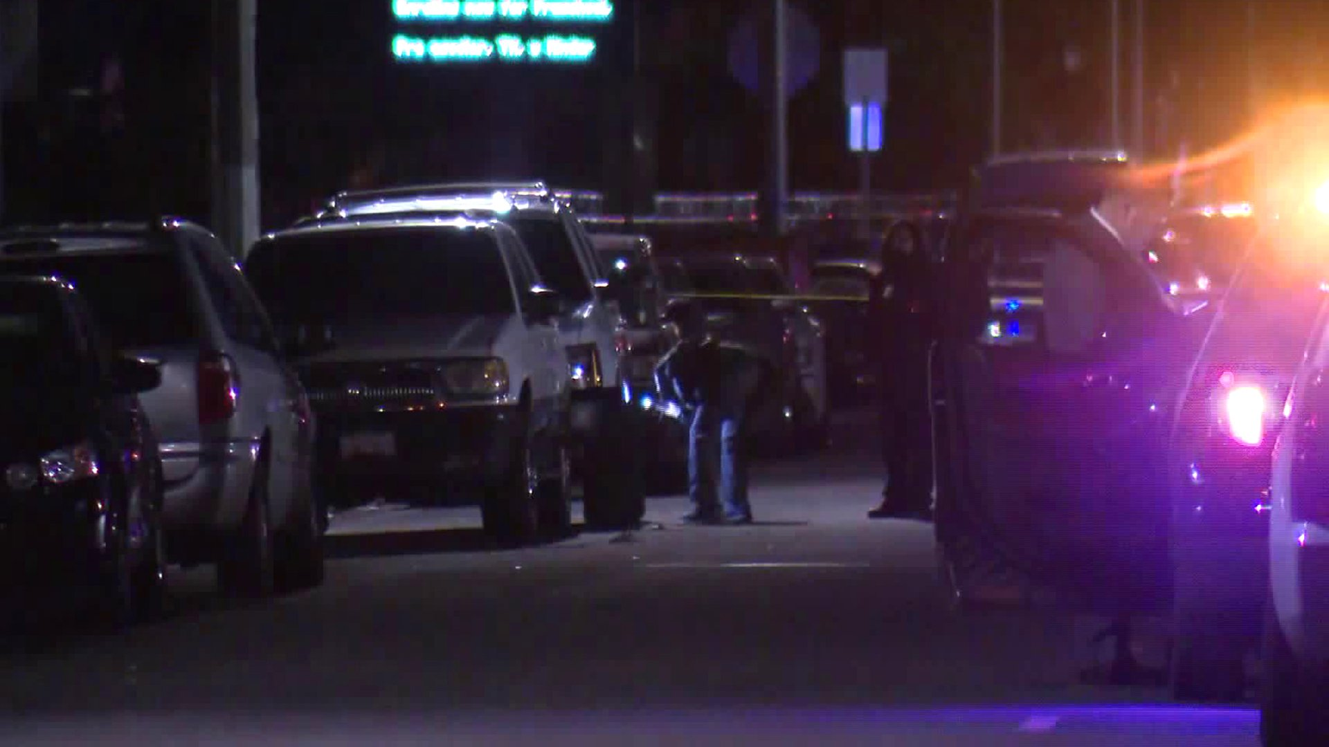 Investigators search for evidence at the scene of a deadly shooting in Lynwood on Jan. 21, 2020. (Credit: KTLA)