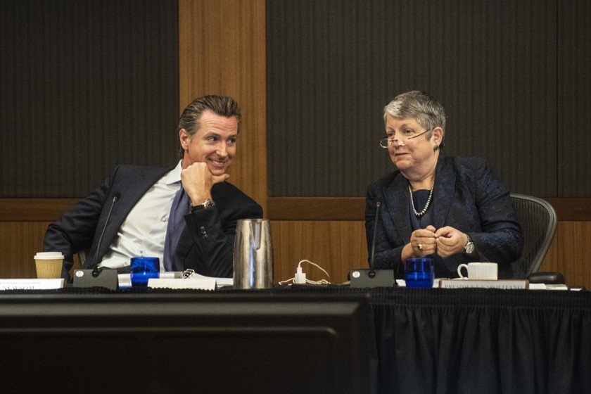 Governor and UC Board of Regents ex-officio member Gavin Newsom and UC President Janet Napolitano are shown in this undated photo. (Credit: Nicholas Agro / Los Angeles Times)