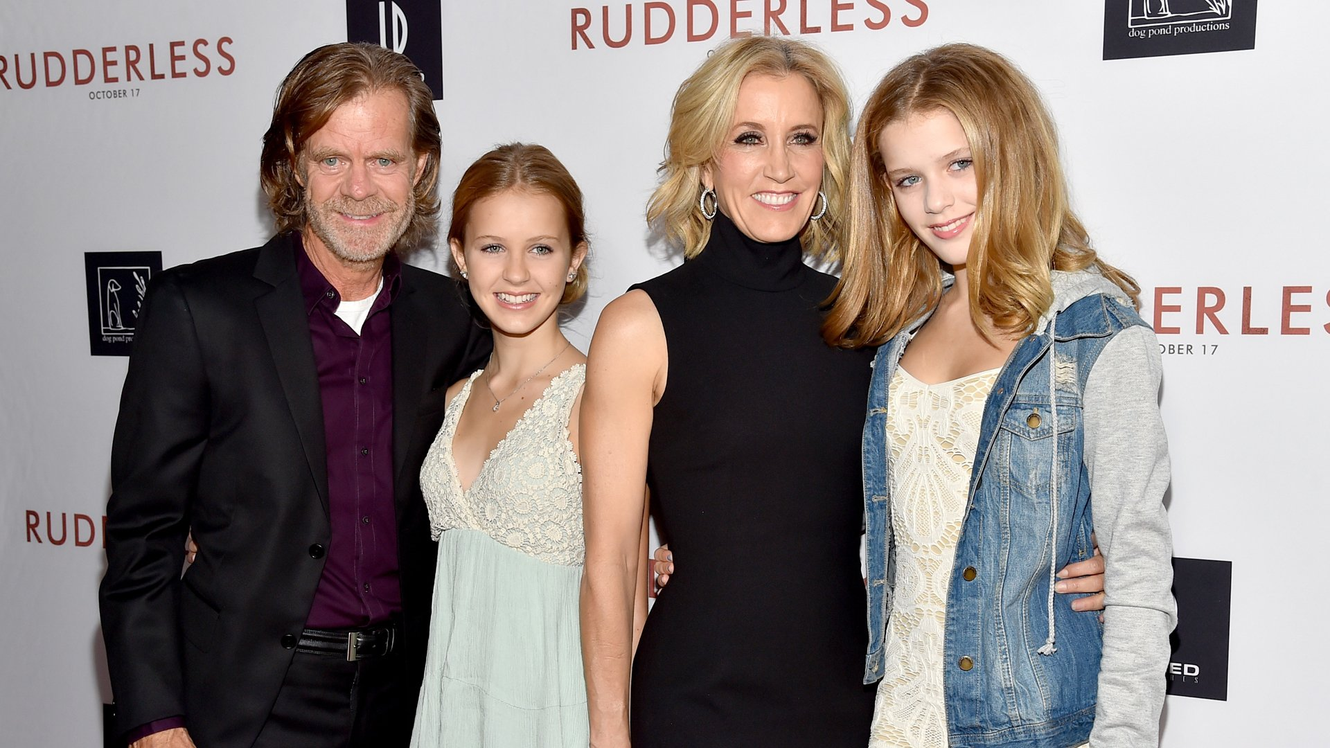 "From left: William H. Macy, Grace Macy, Felicity Huffman and Sophia Macy attend the screening of ""Rudderless"" at the Vista Theatre in Los Angeles on Oct. 7, 2014. (Credit: Alberto E. Rodriguez / Getty Images)"