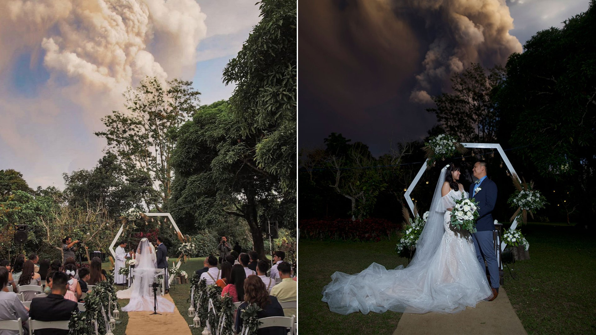 Chino and Kat Vaflor were tying the knot at a venue 10 miles from the Taal Volcano when wedding photographer Randolf Evan captured dramatic shots of the couple with the ash plume seemingly overhead. (Credit: Randolf Evan Photograph via CNN)