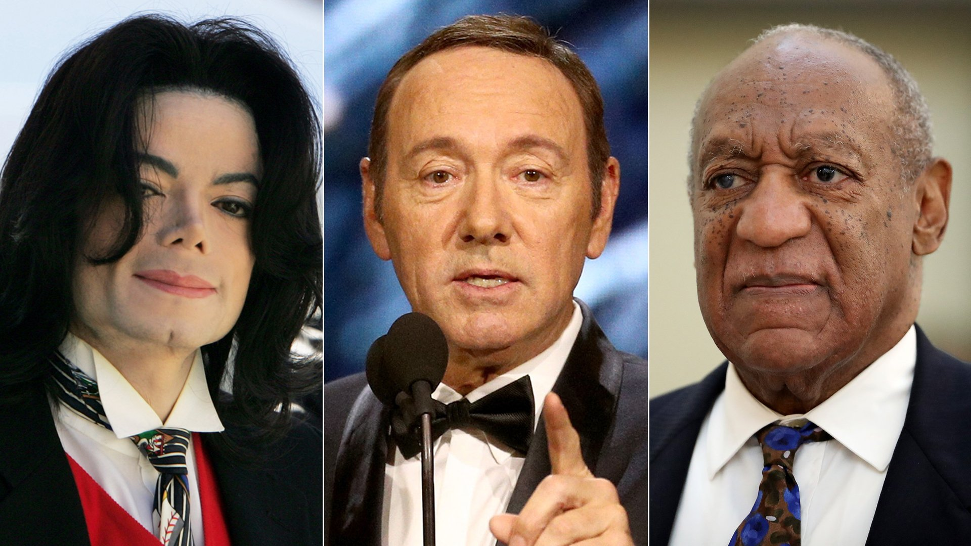 From left: Michael Jackson arrives at a Santa Barbara County courthouse in April 2005, Kevin Spacey presents an award at the 2017 Britannia Awards in Beverly Hills and Bill Cosby is seen in a Montgomery County, Pennsylvania, courtroom in September 2018. (Credit: Justin Sullivan / Frederick M. Brown / David Maialetti / Getty Images)