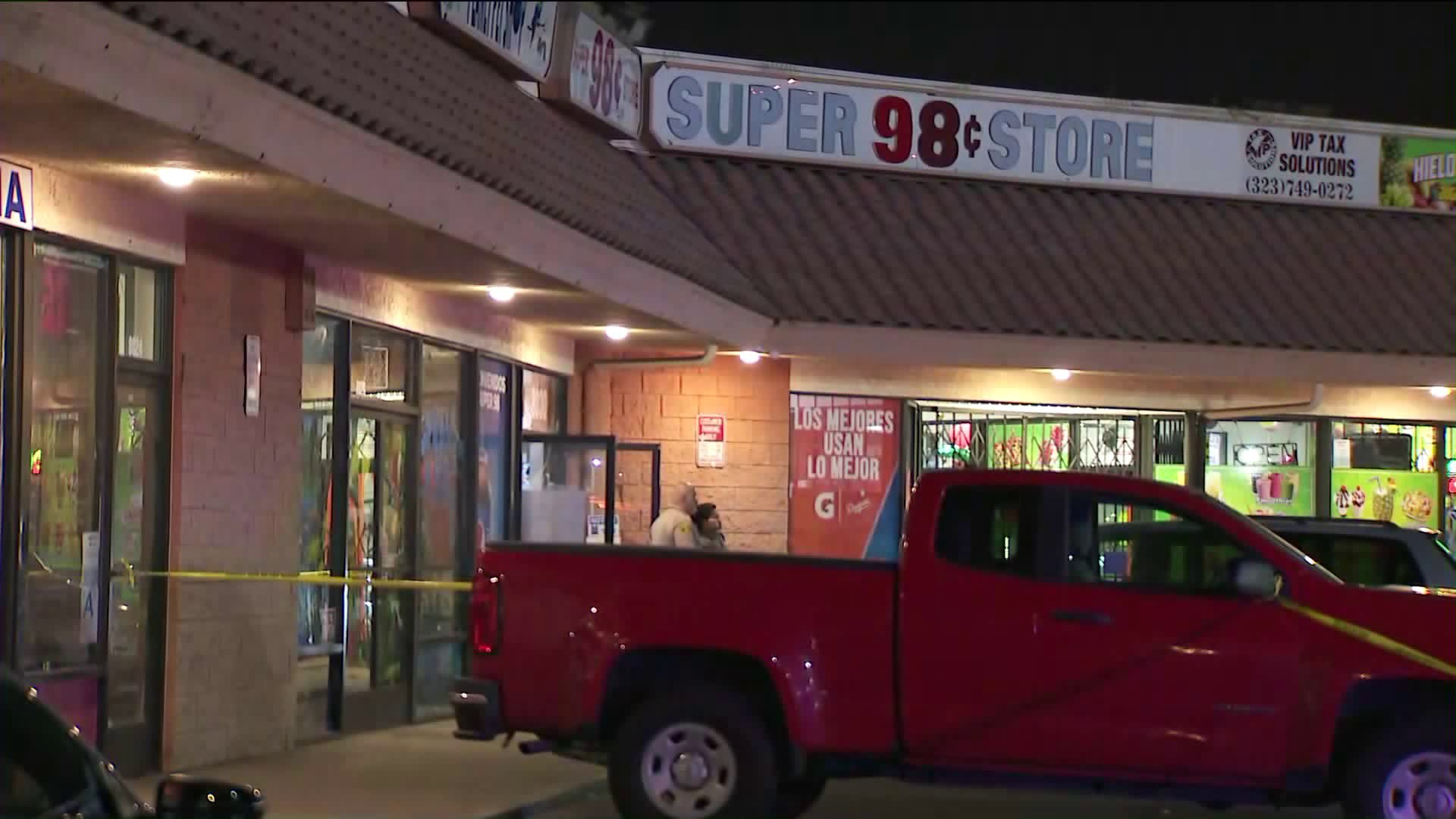 Deputies investigate a shooting that left a woman wounded in the head at the Super 98 Cent Store in Cudahy on Feb. 23, 2020. (Credit: KTLA)