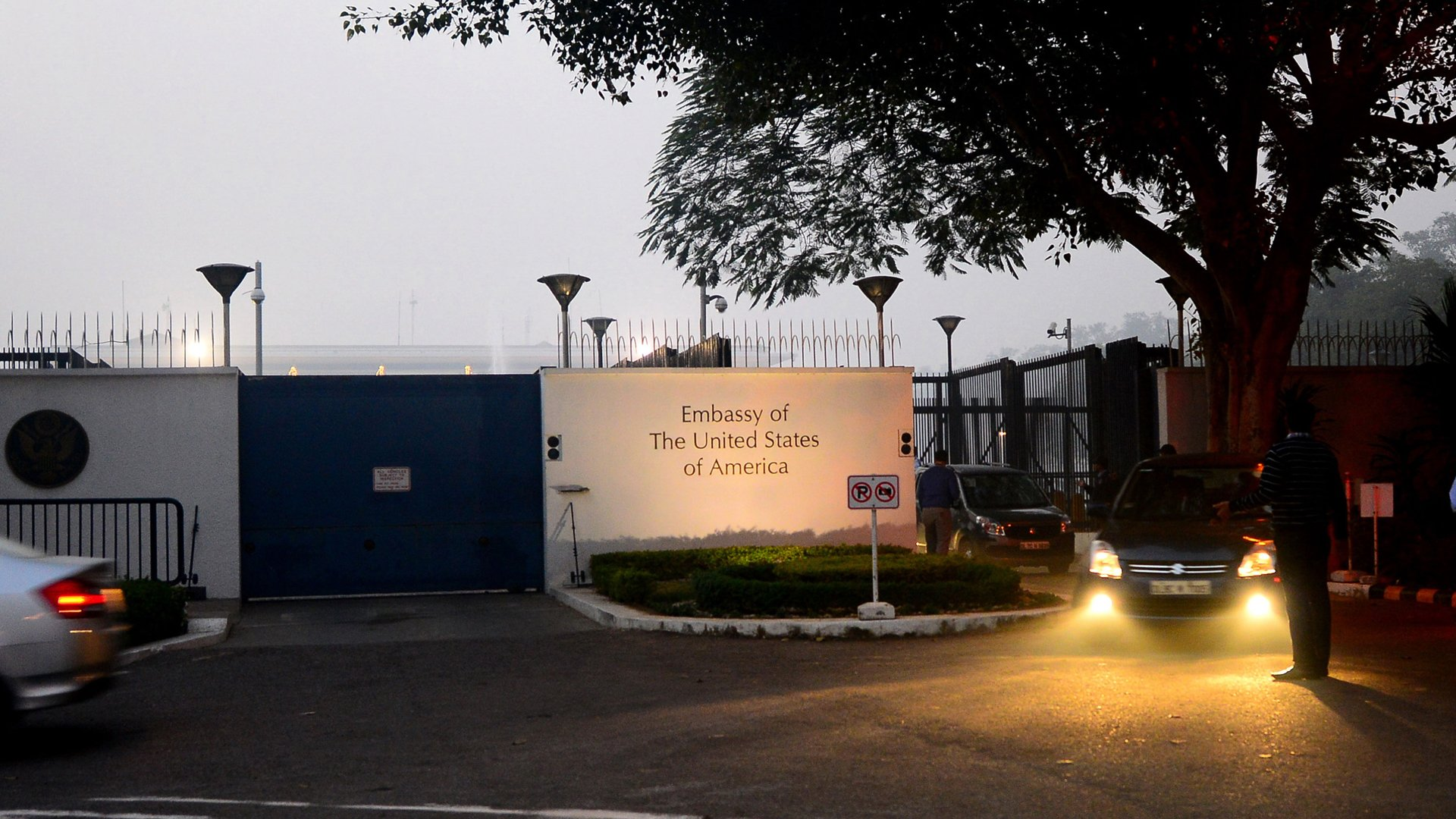 The U.S. embassy in New Delhi, India, is pictured in December 2013. (Credit: Priyanka Parashar / Getty Images)