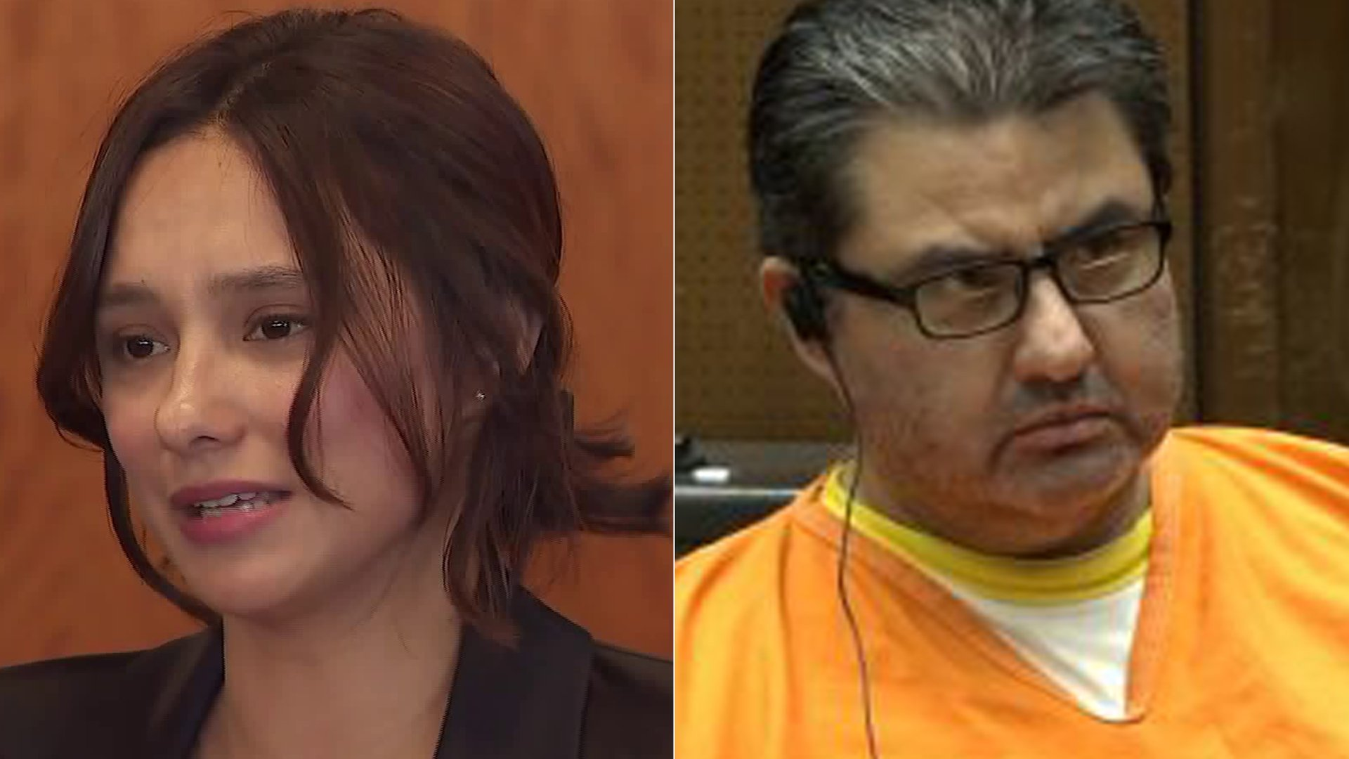 From left to right: Sochil Martin details allegations against the La Luz Del Mundo Church at a news conference in Los Angeles, Feb. 13, 2020. Naasón Joaquín García appears for a bail hearing in a downtown L.A. courtroom on July 16, 2019. (Credit: KTLA)