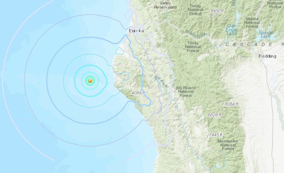 The epicenter of a 4.3-magnitude earthquake near Fortuna, Calif. on Feb. 22, 2020, appears in this image from the U.S. Geological Survey.