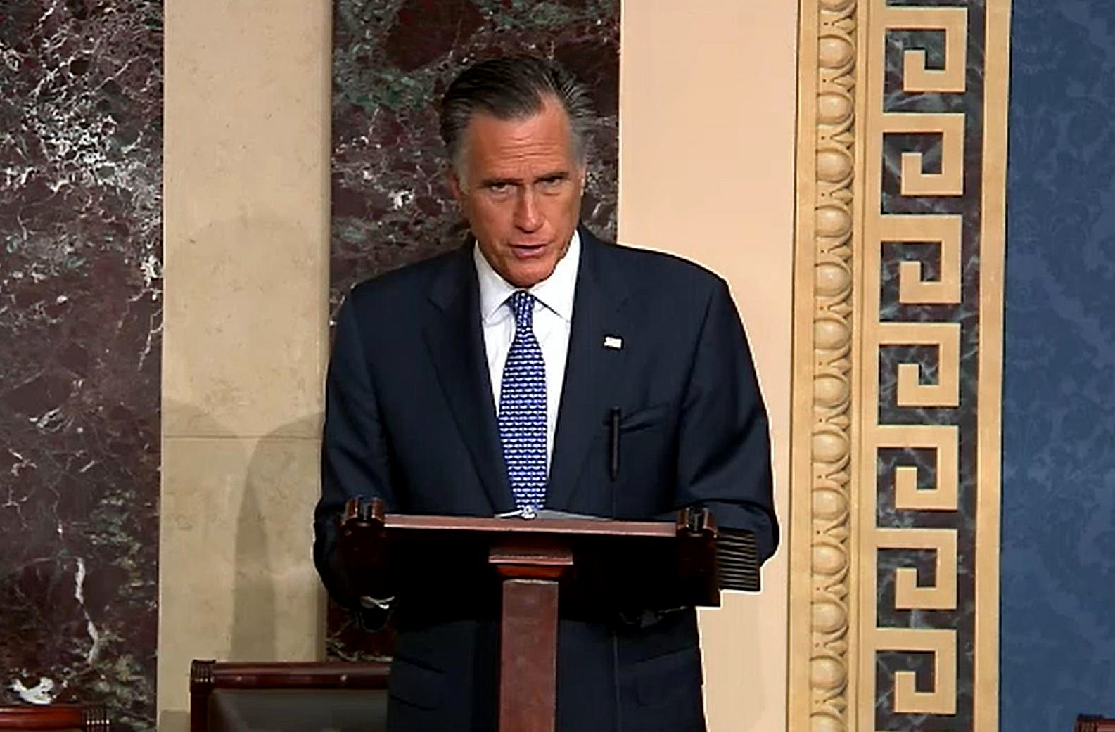 In this screengrab taken from a Senate Television webcast, Sen. Mitt Romney (R-UT) talks at the U.S. Capitol on February 5, 2020 in Washington, DC. (Credit: Senate Television via Getty Images)