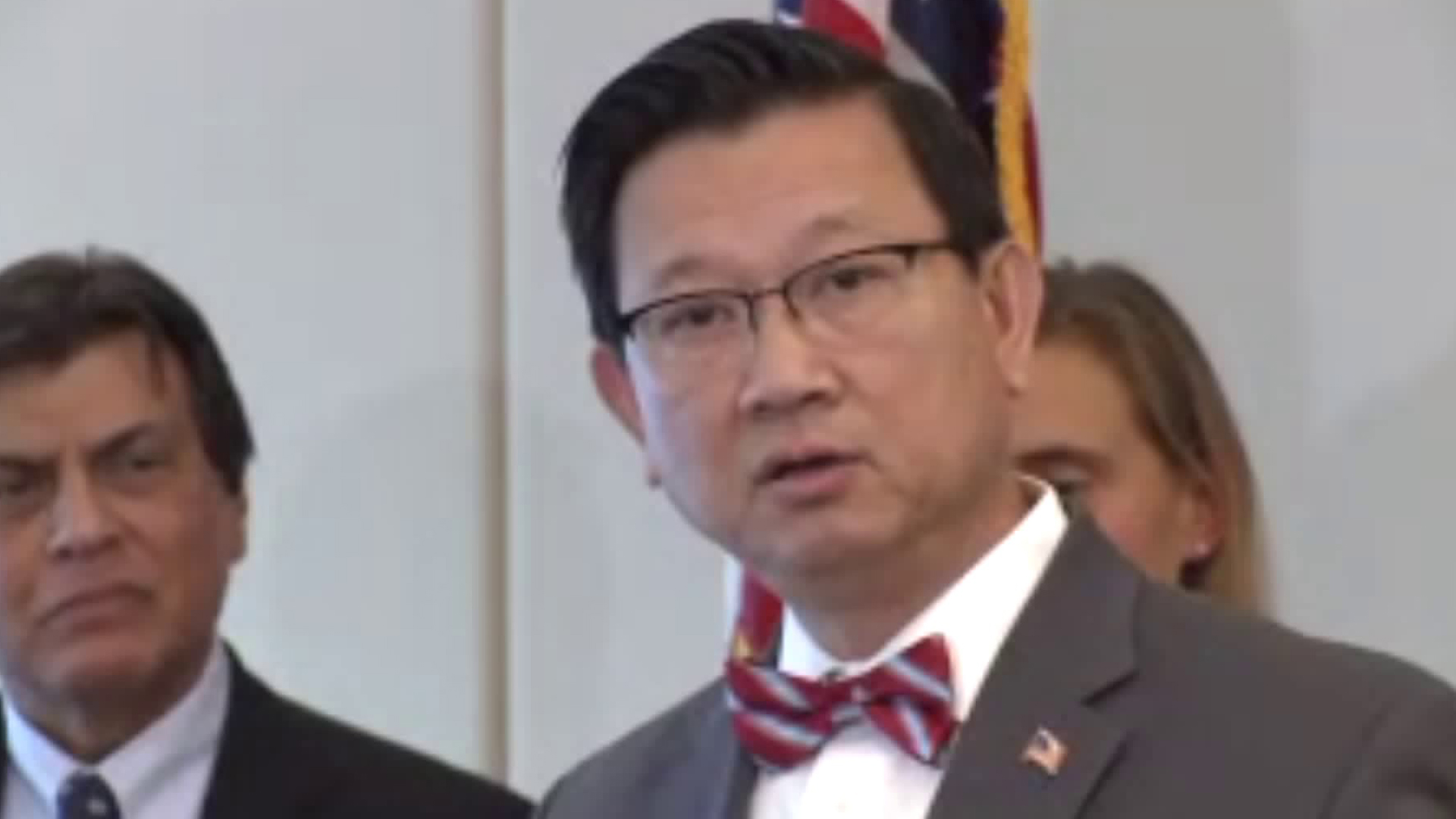 Orange County Supervisor Andrew Do speaks to reporters on Feb. 26, 2020, in Santa Ana, about the county declaring a local emergency over the coronavirus. (KTLA)