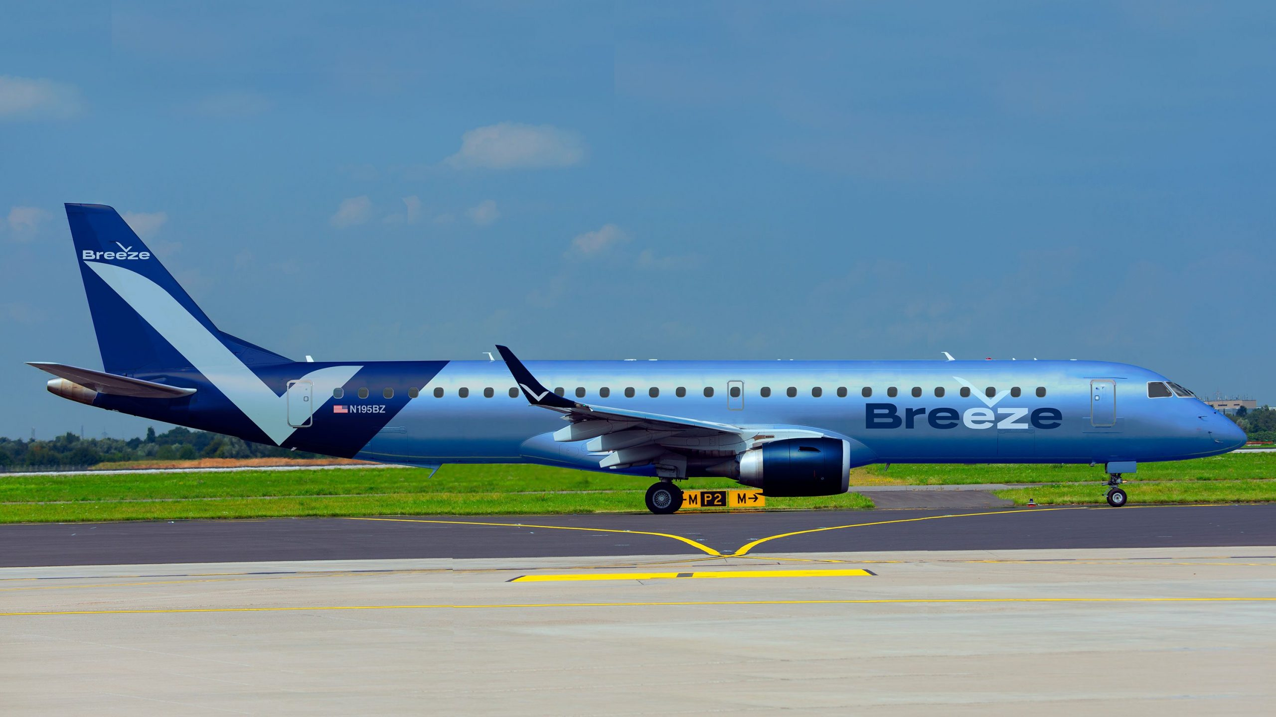 An aircraft with Breeze Airways, an airline started by the founder of JetBlue and expected to debut in 2020, appears in this photo. (Credit: Breeze Airways via CNN)