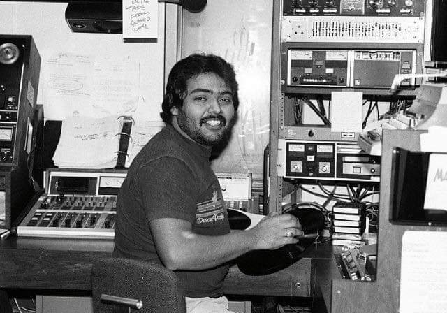 Phil Gonzalez is seen working in the KMET 94.7 production room in the early 1980s.