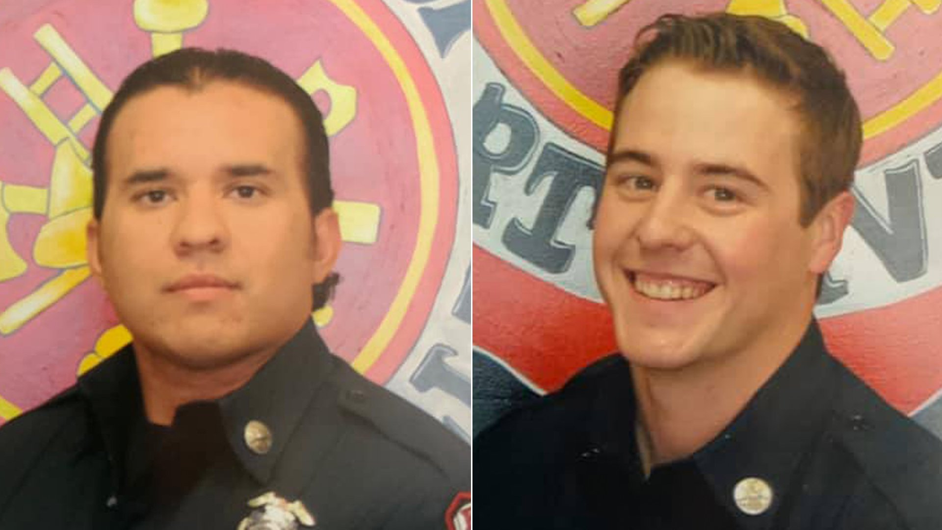 Porterville Fire Department Capt. Raymond Figueroa, left, and firefighter Patrick Jones appear in photos released by the agency on Feb. 19 2020.