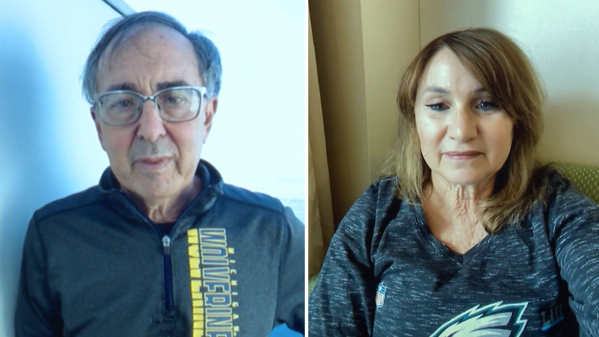 Carl Goldman and Jeri Seratti-Goldman are seen aboard the Diamond Princess cruise ship during a video chat on Feb. 7, 2020.