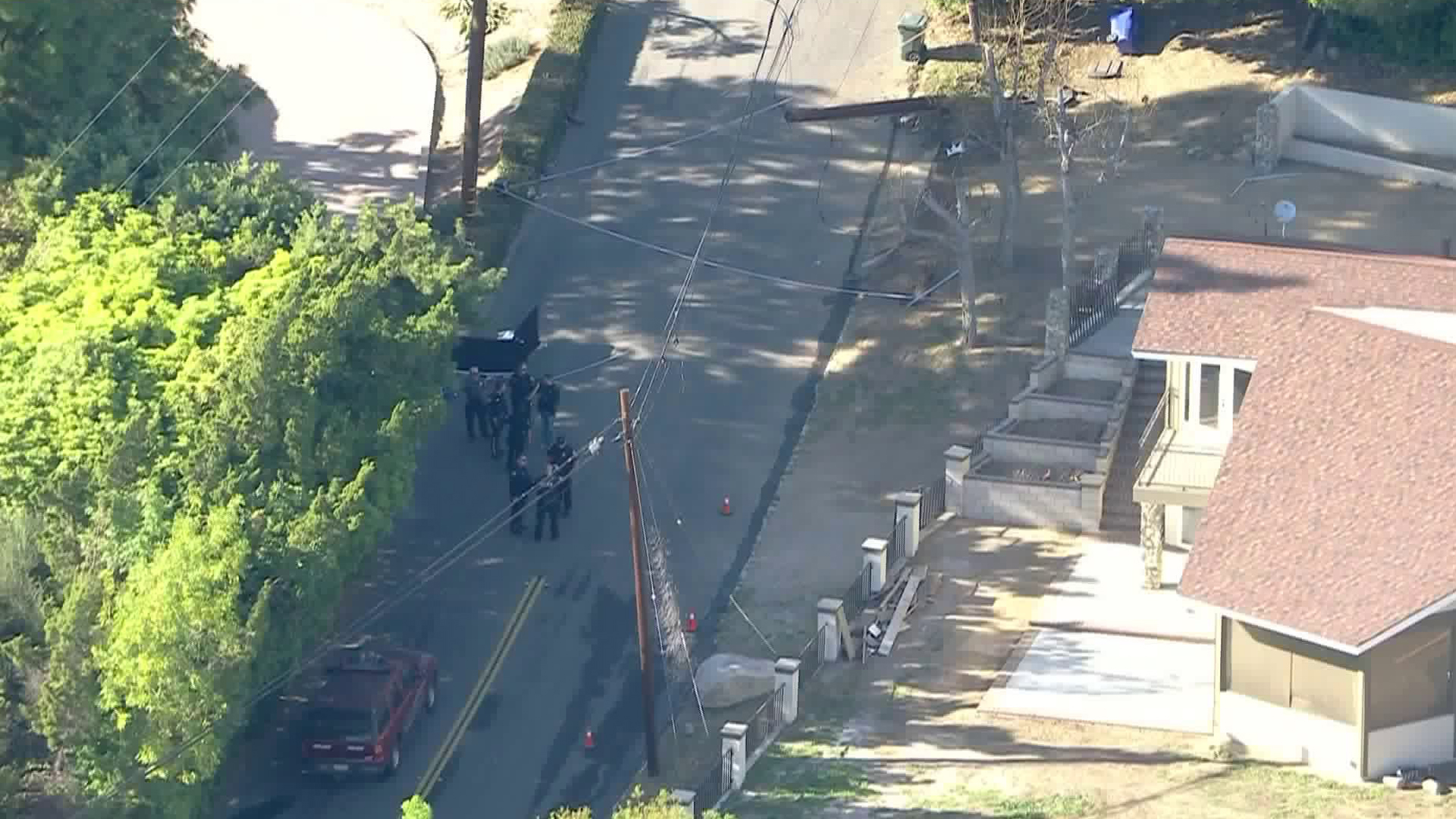 Police investigate after a pursuit ended in a fatal crash in Upland on Feb. 25, 2020. (KTLA)