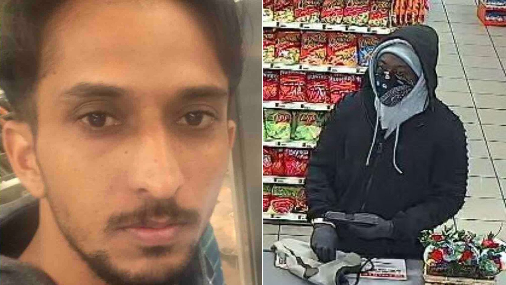 Maninder Singh Sahi, left, was killed by a robber, right, at a 7-Eleven in Whittier on Feb. 23, 2020. (Credit: GoFundMe and Whittier Police Department)