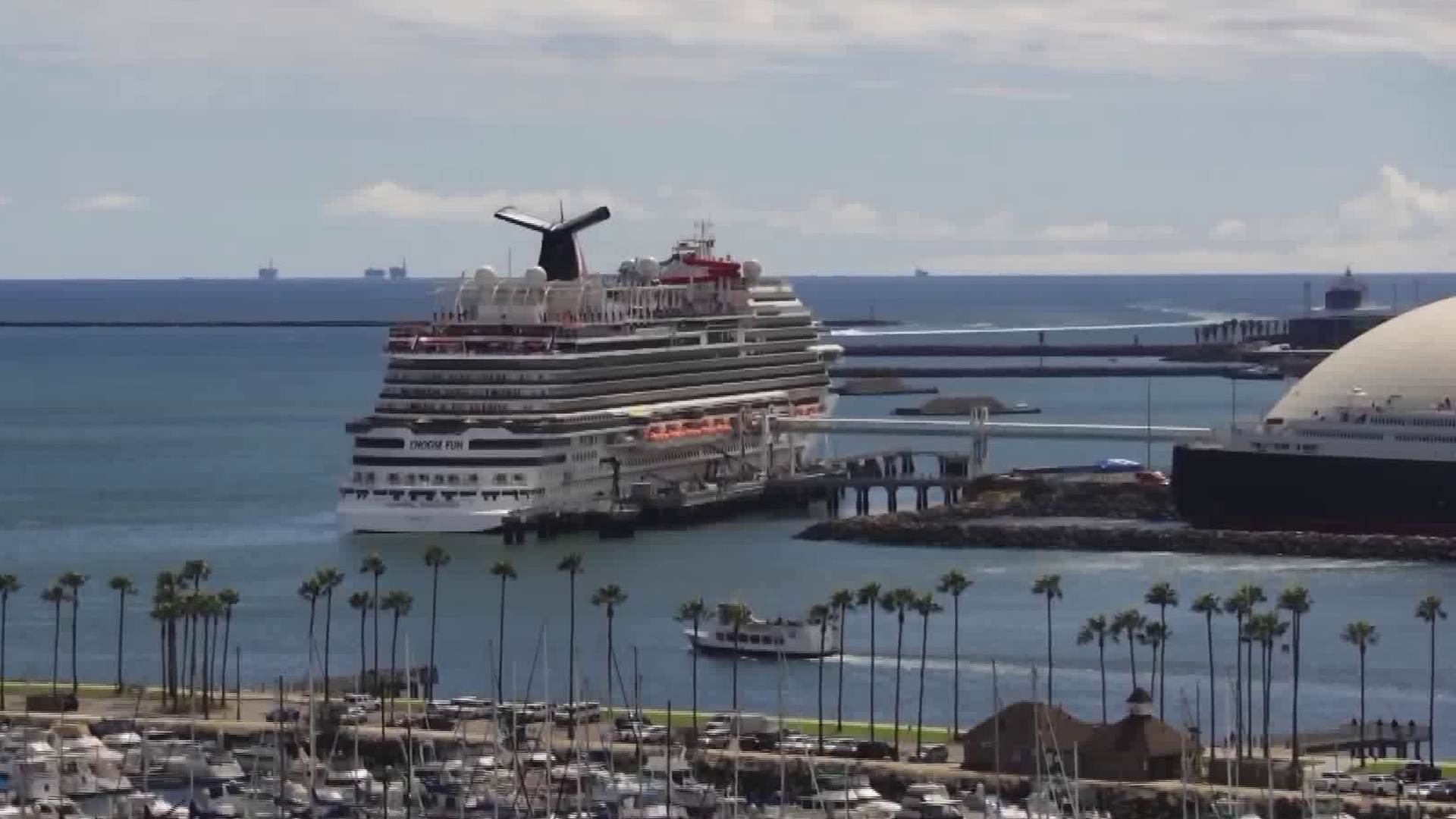 A Carnival cruise ship is seen docked in Long Beach on March 7, 2020. (KTLA)